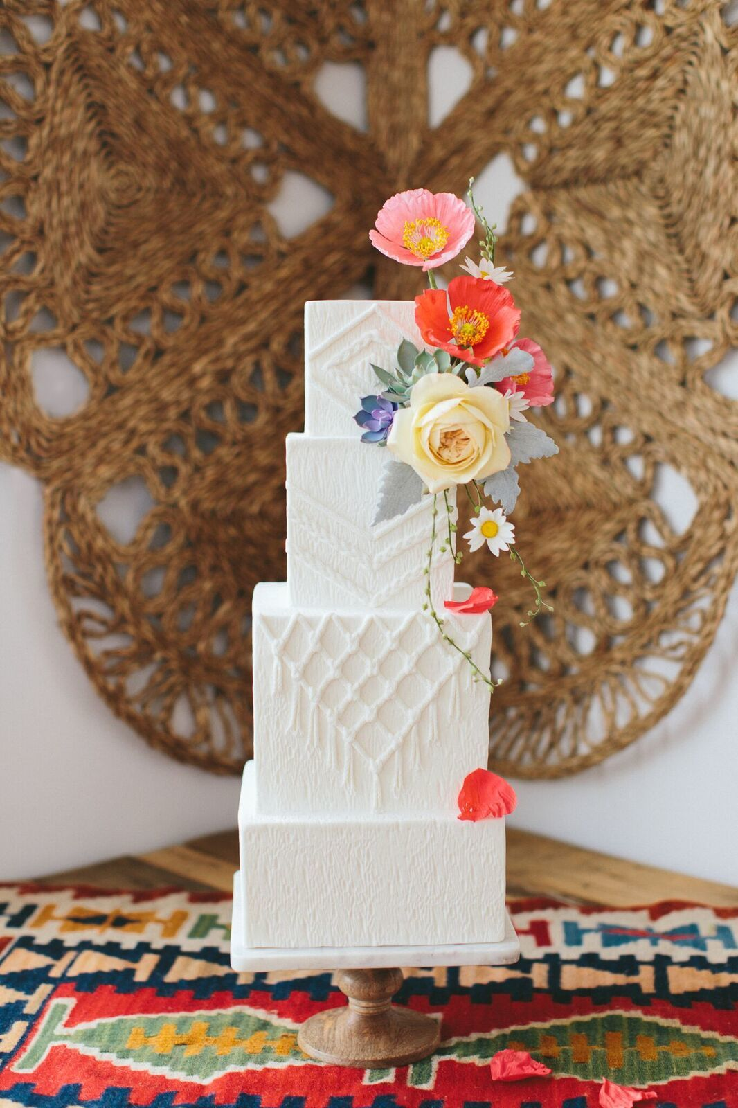 White Bohemian fondant Wedding cake