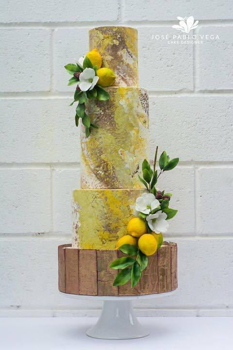 Lemon inspired wedding cake with greenery
