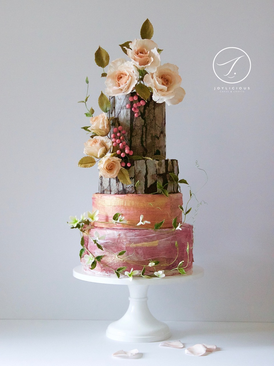 Woodland tree bark effect wedding cake