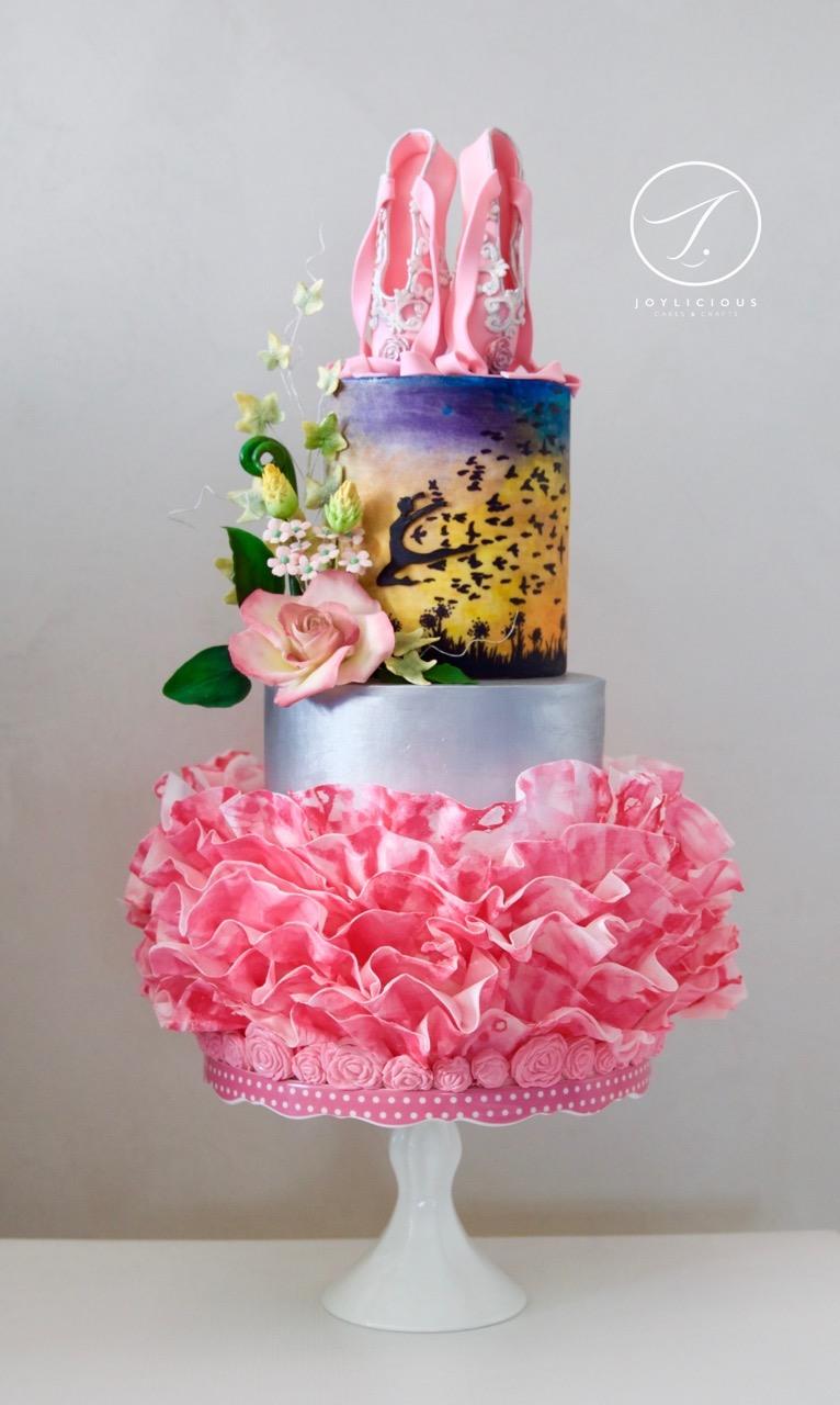 Pink ruffle ballerina birthday cake