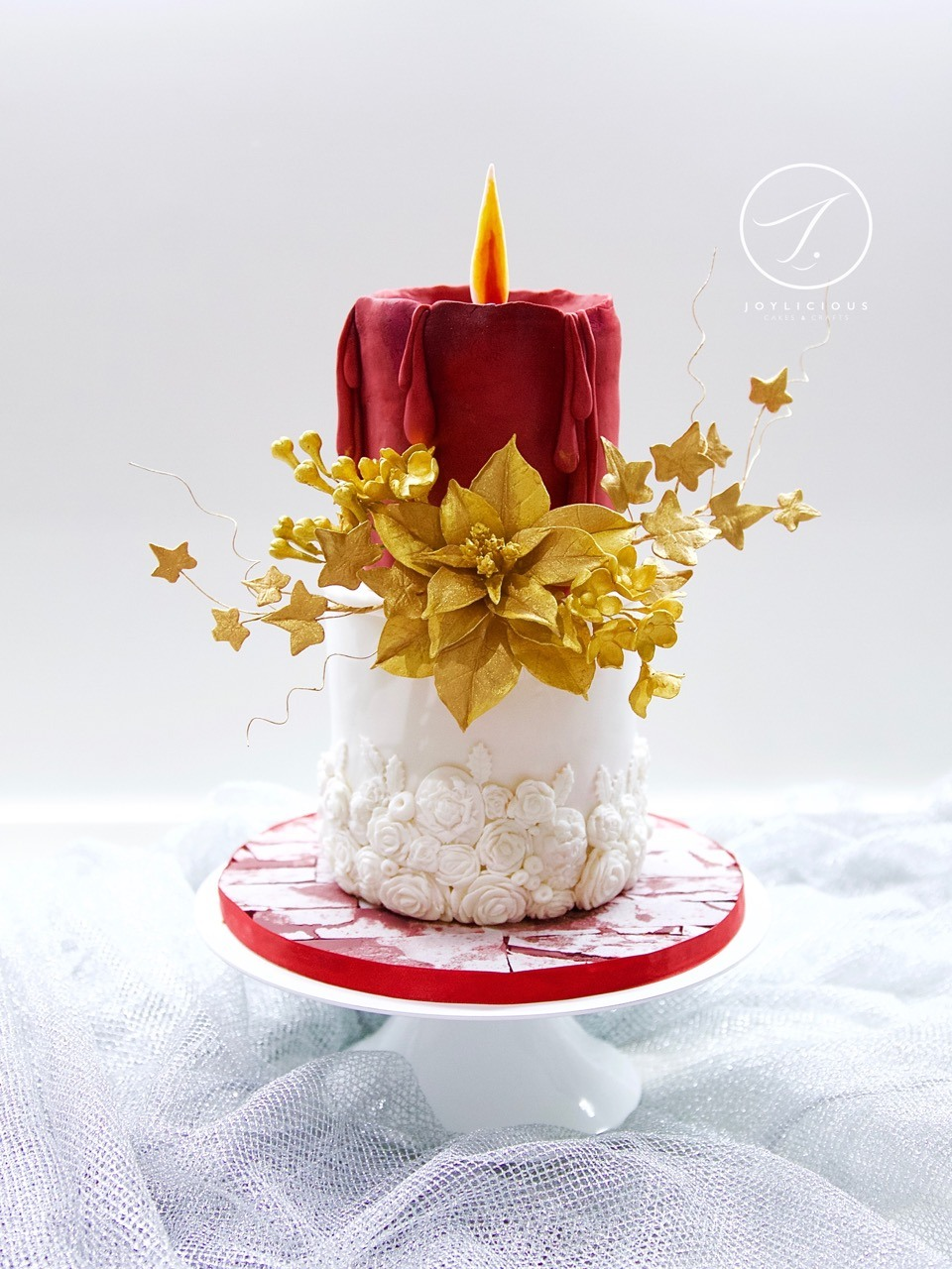 Christmas candle cake with sugar flowers