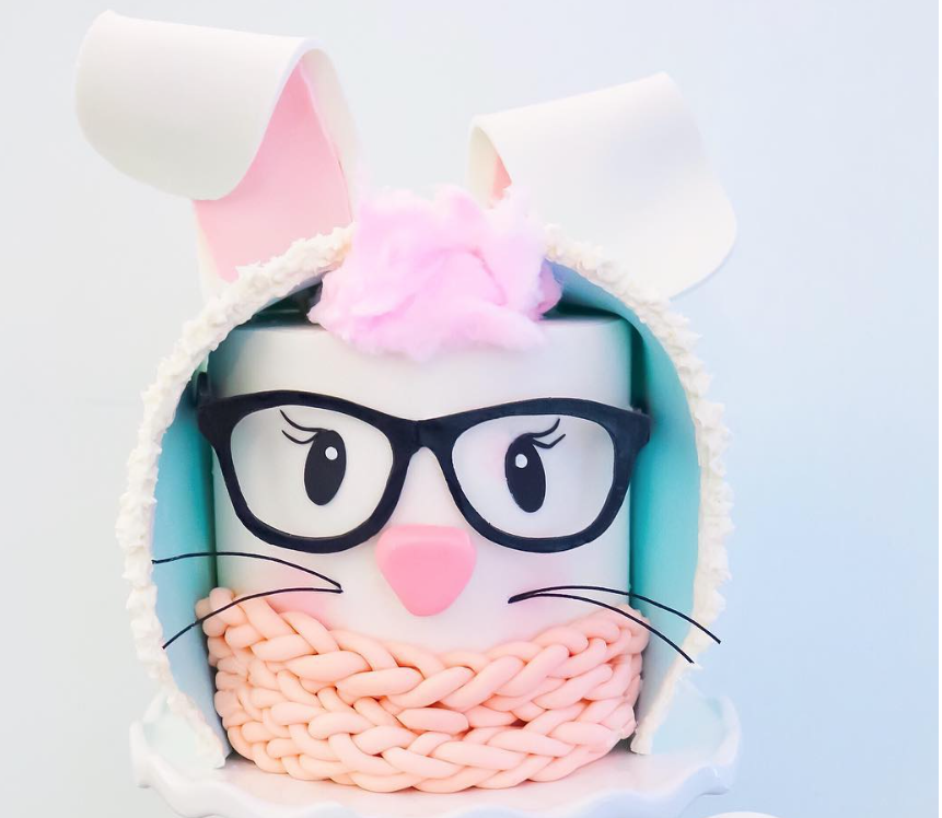Adorable fondant winter snow bunny cake