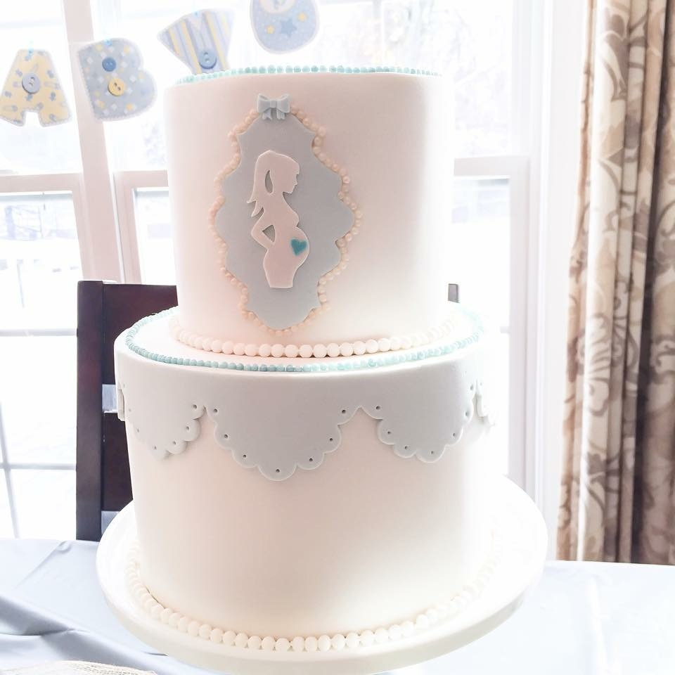 Baby blue and white fondant cake