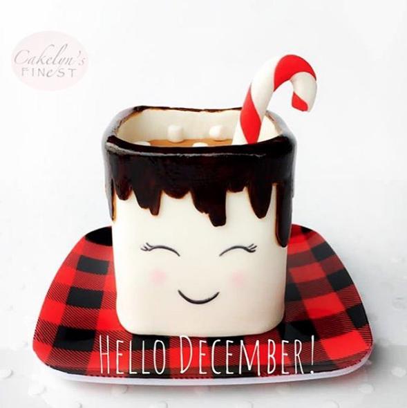 Hot cocoa mug fondant cake
