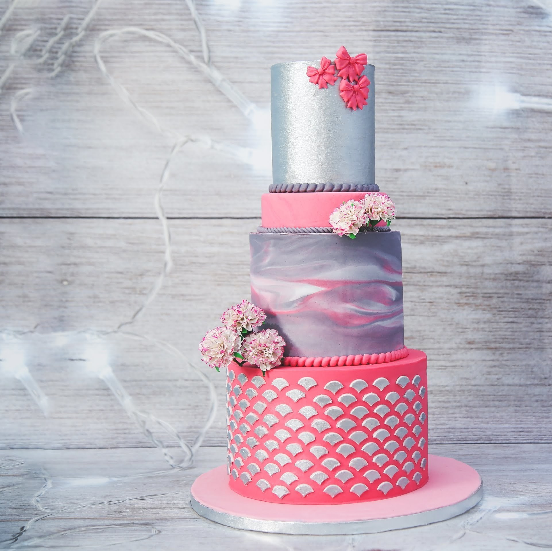 Light pink and silver fondant wedding cake