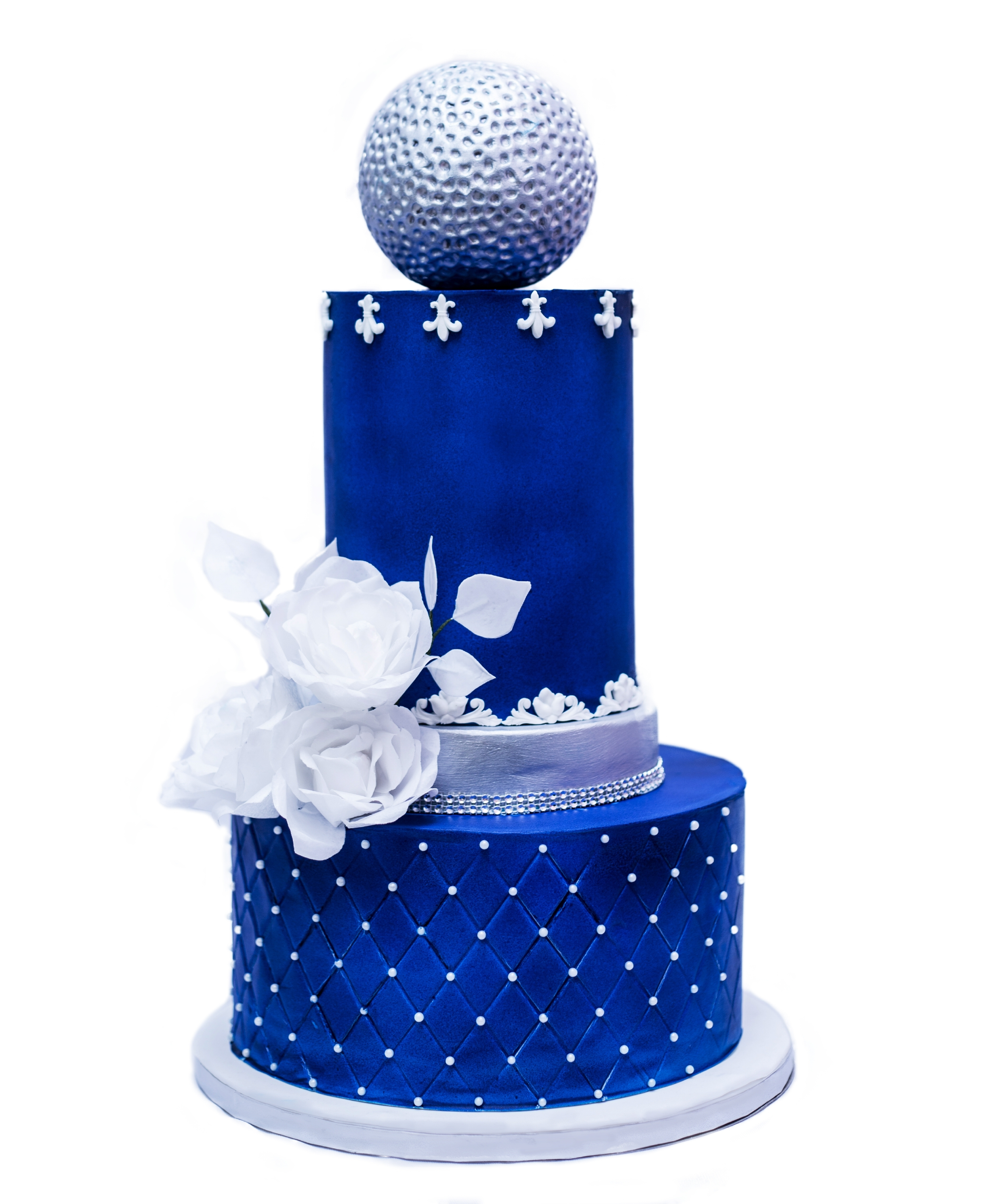 All blue with silver fondant modern wedding cake