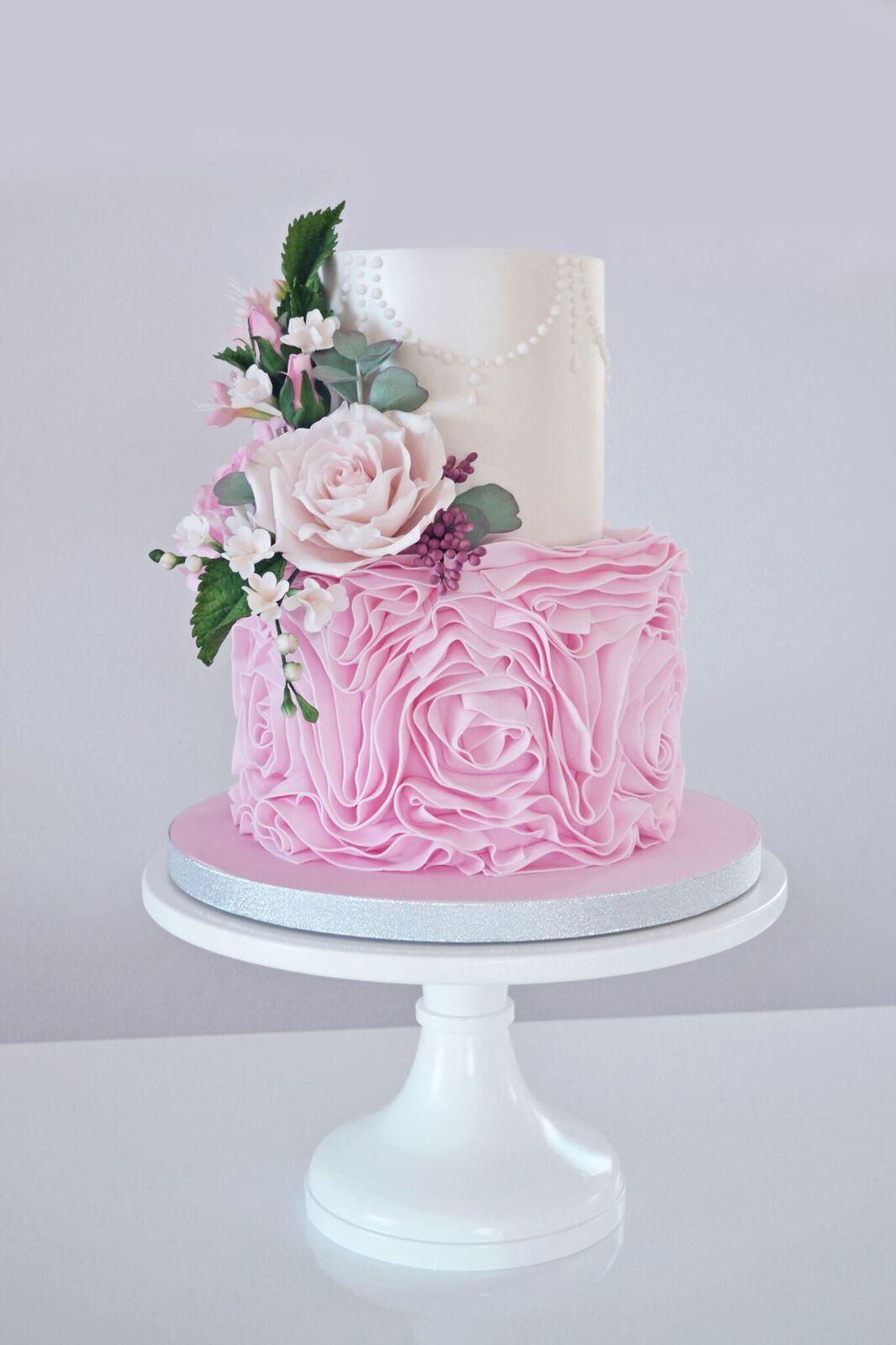 Soft Pink Rosette fondant Wedding cake