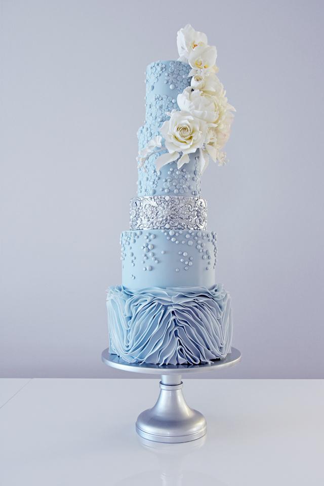 Baby blue tall tiered fondant wedding cake