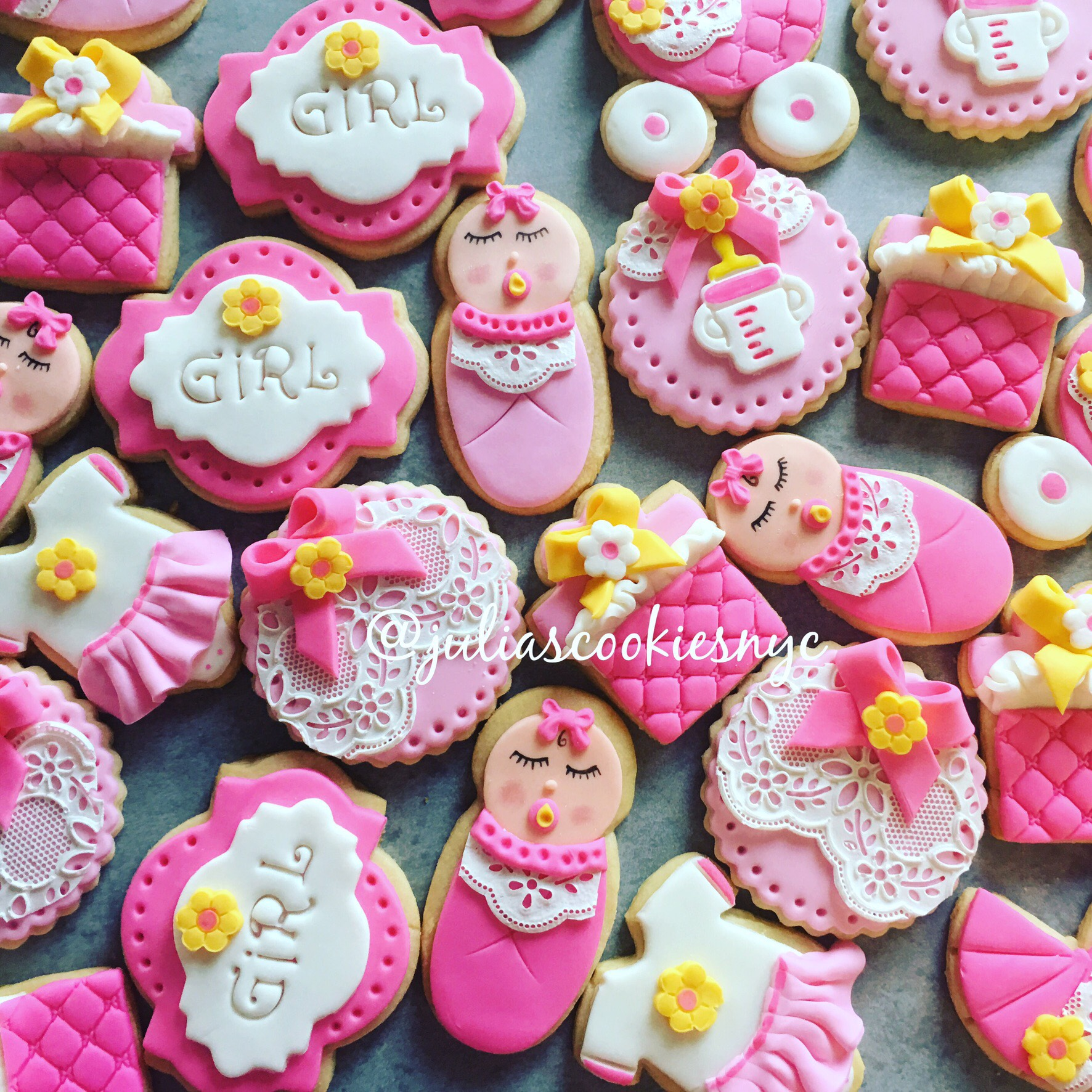 Pink and white baby girl cookies