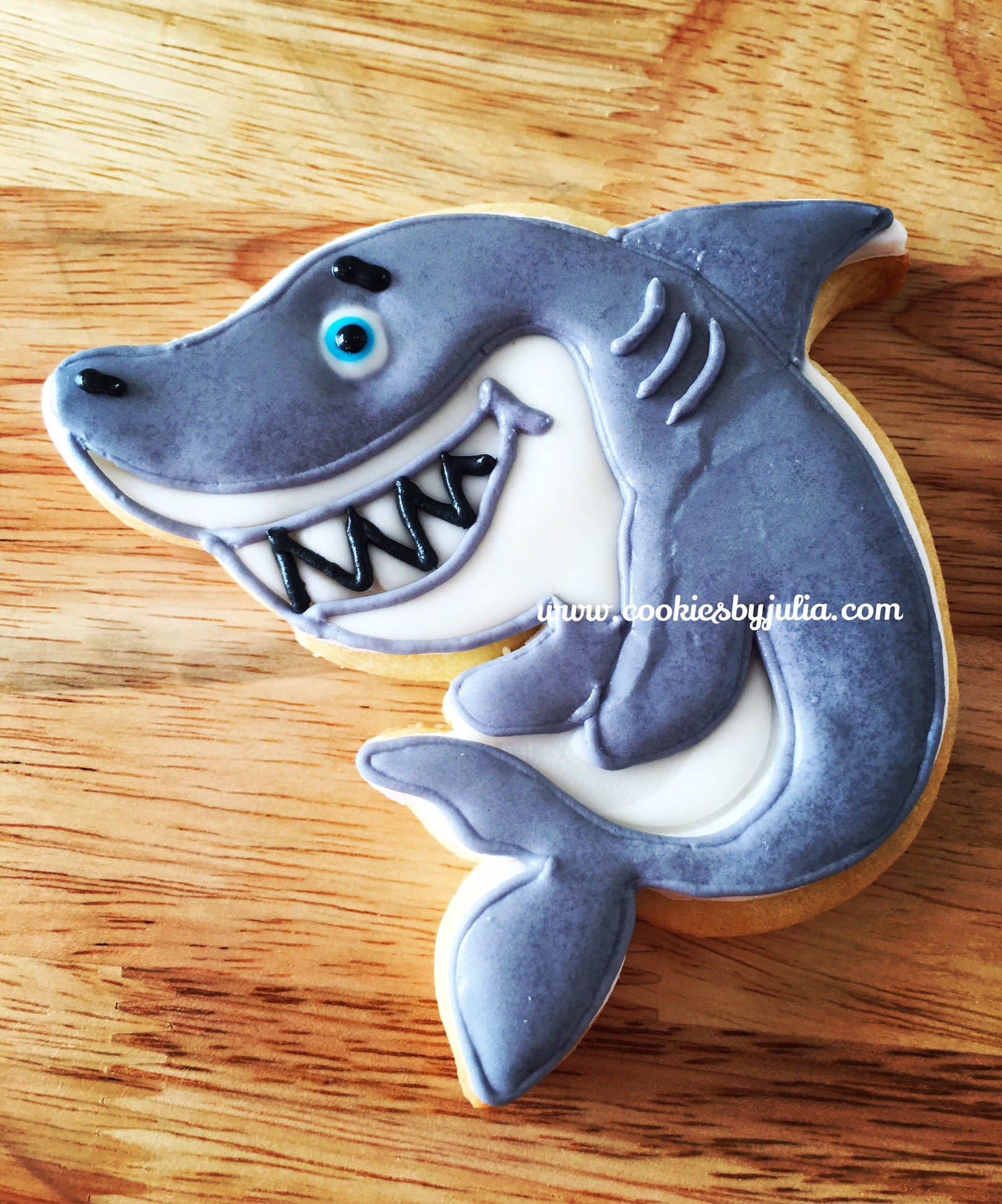 Fondant gray shark cookies