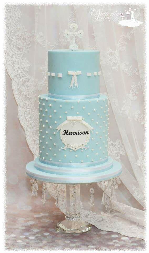 Baby blue fondant baptism cake