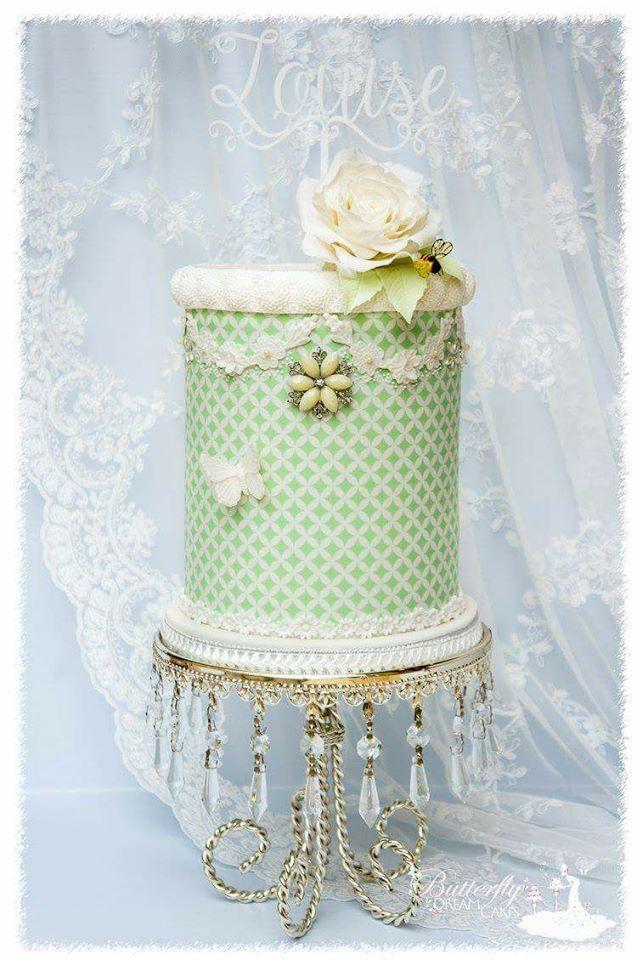 Pastel green victorian fondant cake