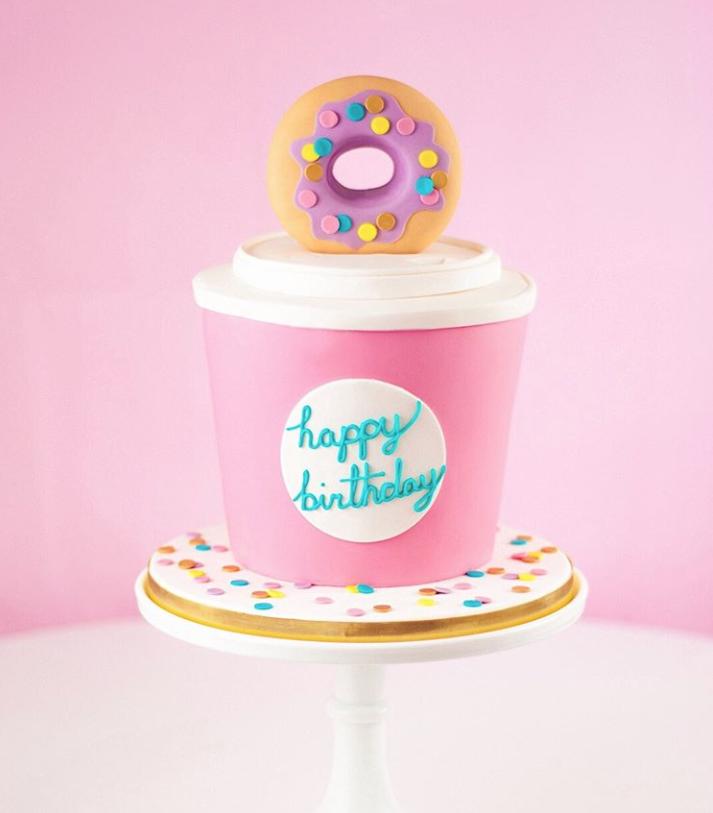 Pink Donut birthday cake