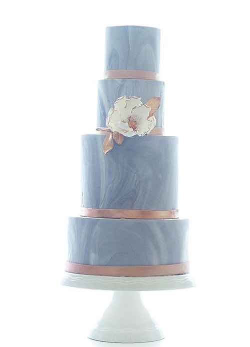 Baby blue marbled fondant wedding cake