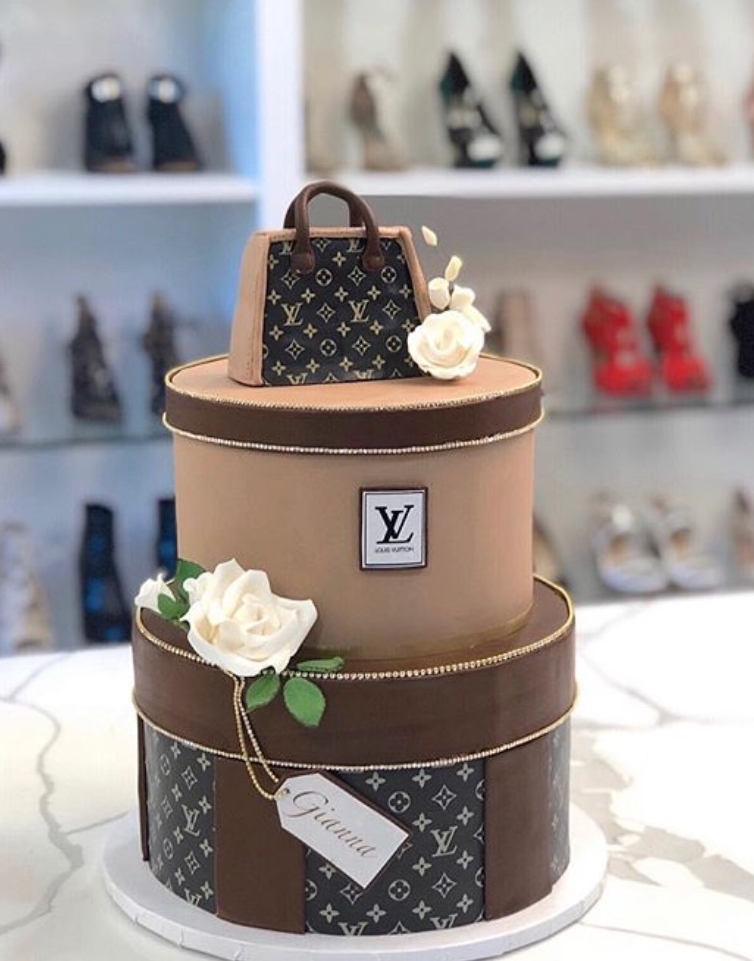 Chanel inspired handbag fondant birthday cake