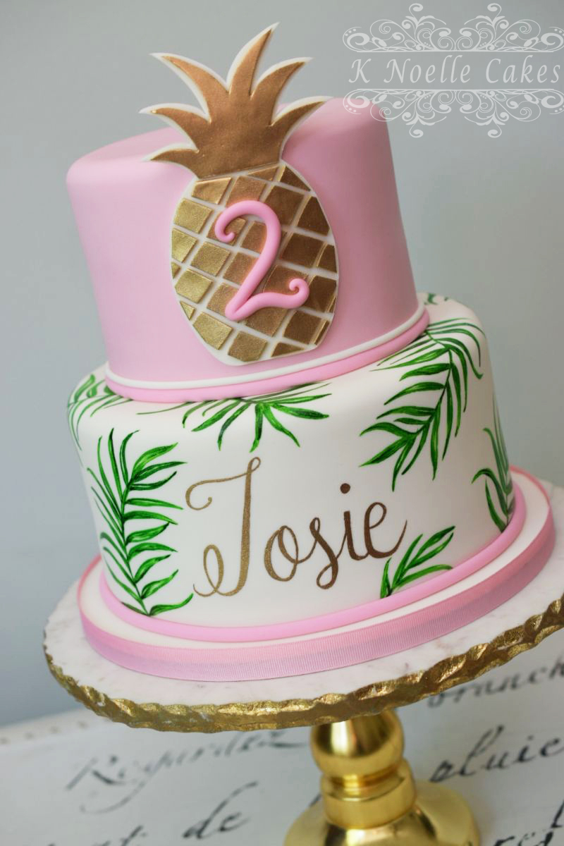 Pink and white pineapple theme birthday cake