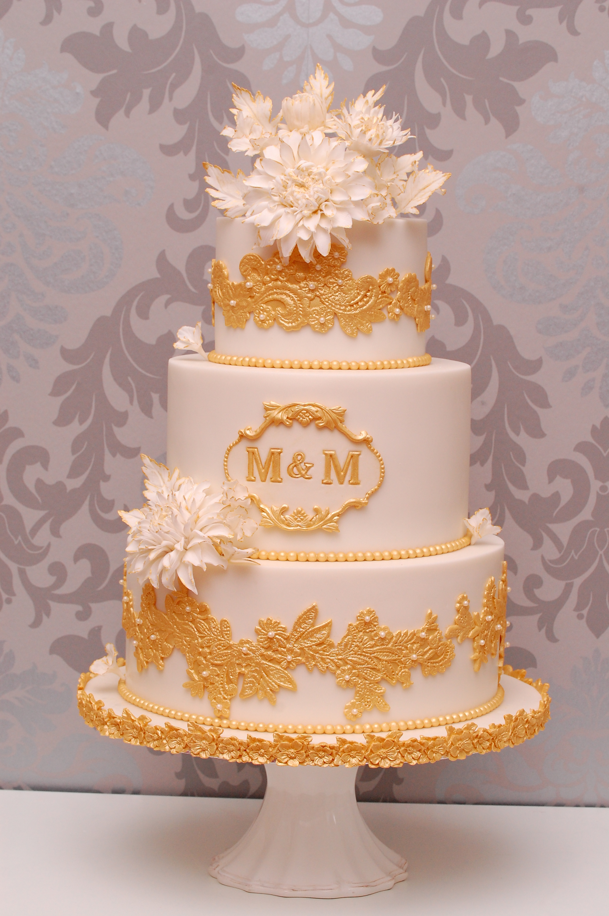 White with gold lace wedding
