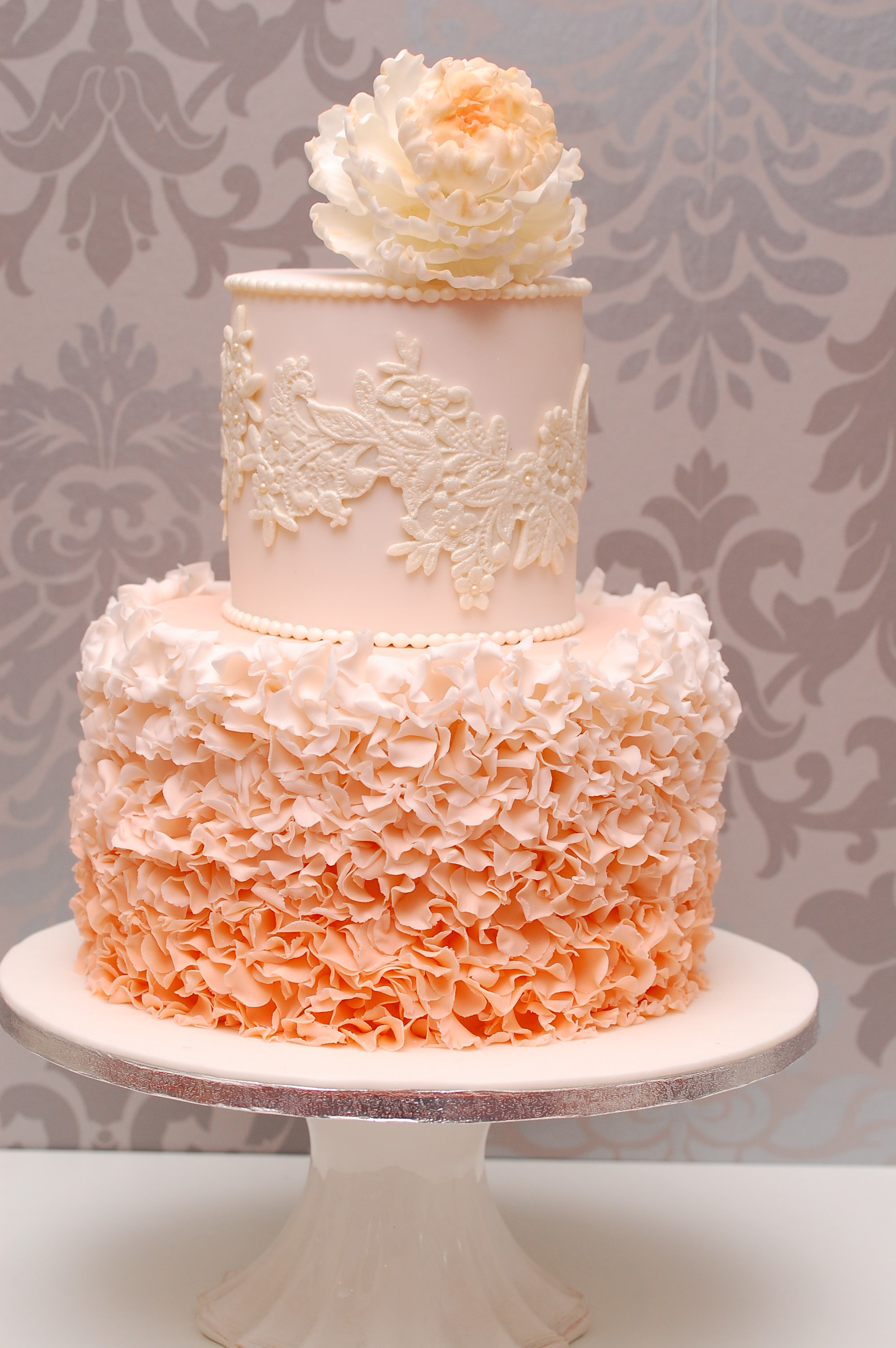 Light Orange ruffle  fondant wedding cake