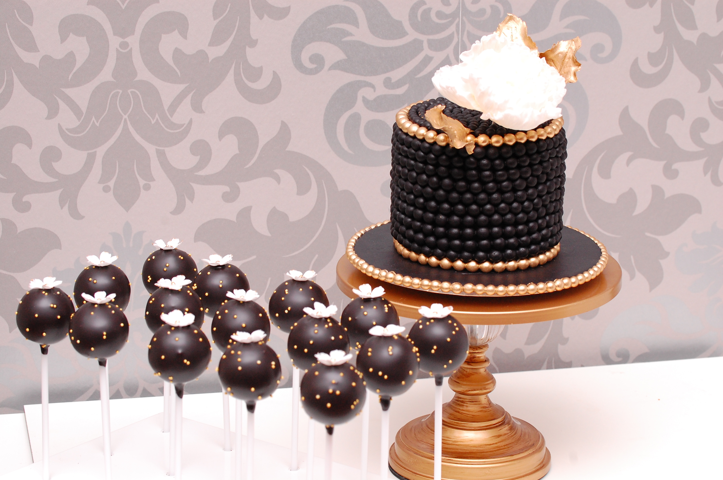 Black Mini pearl wedding dessert table