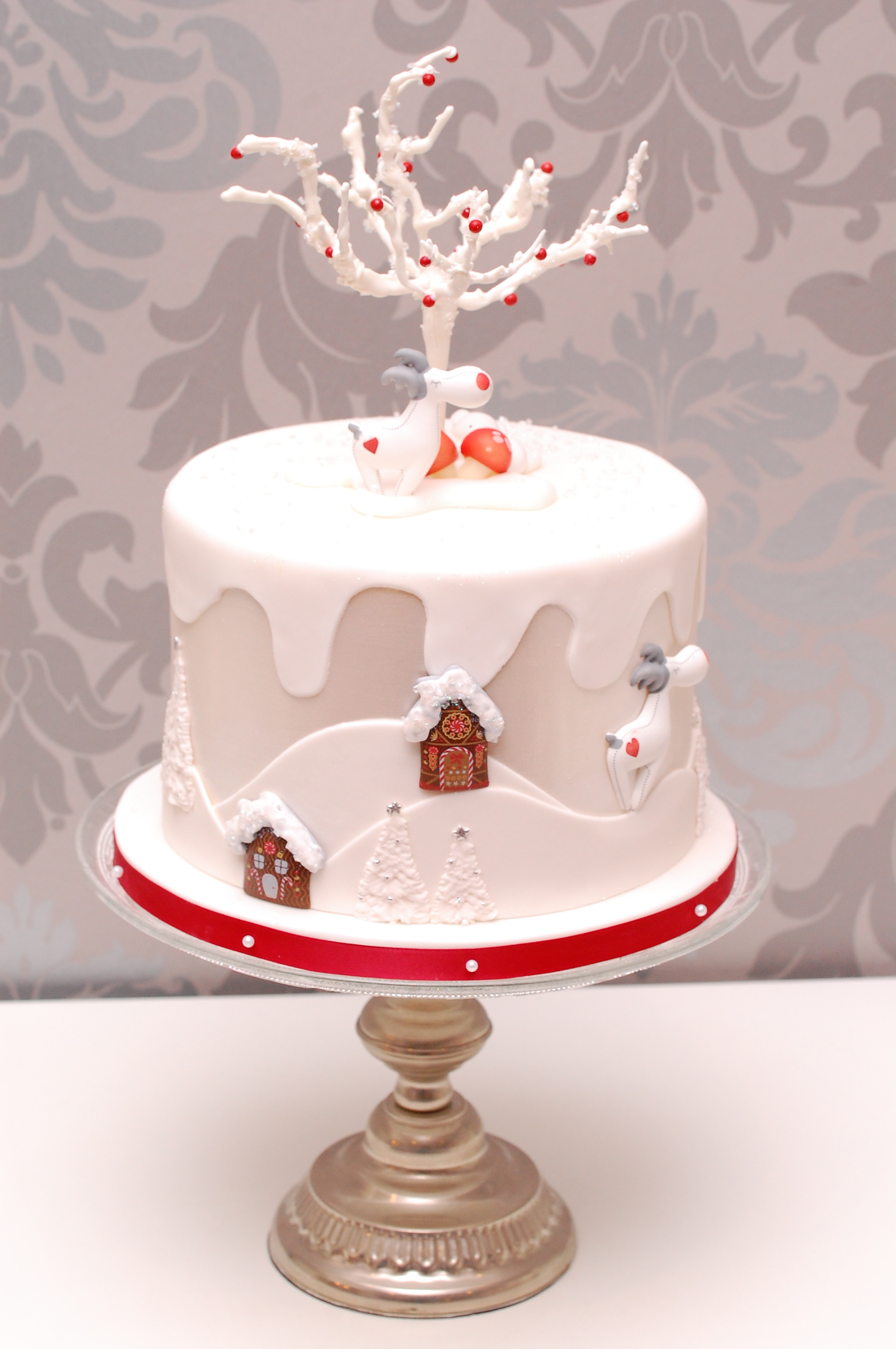 White winter wonderland cake