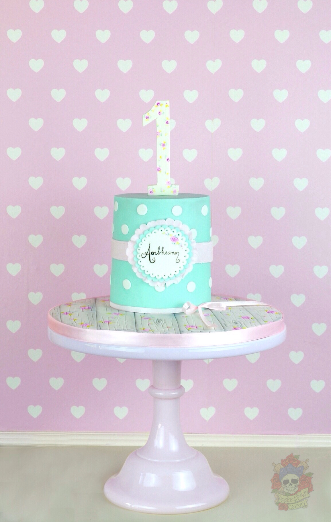 Turquoise first birthday fondant cake