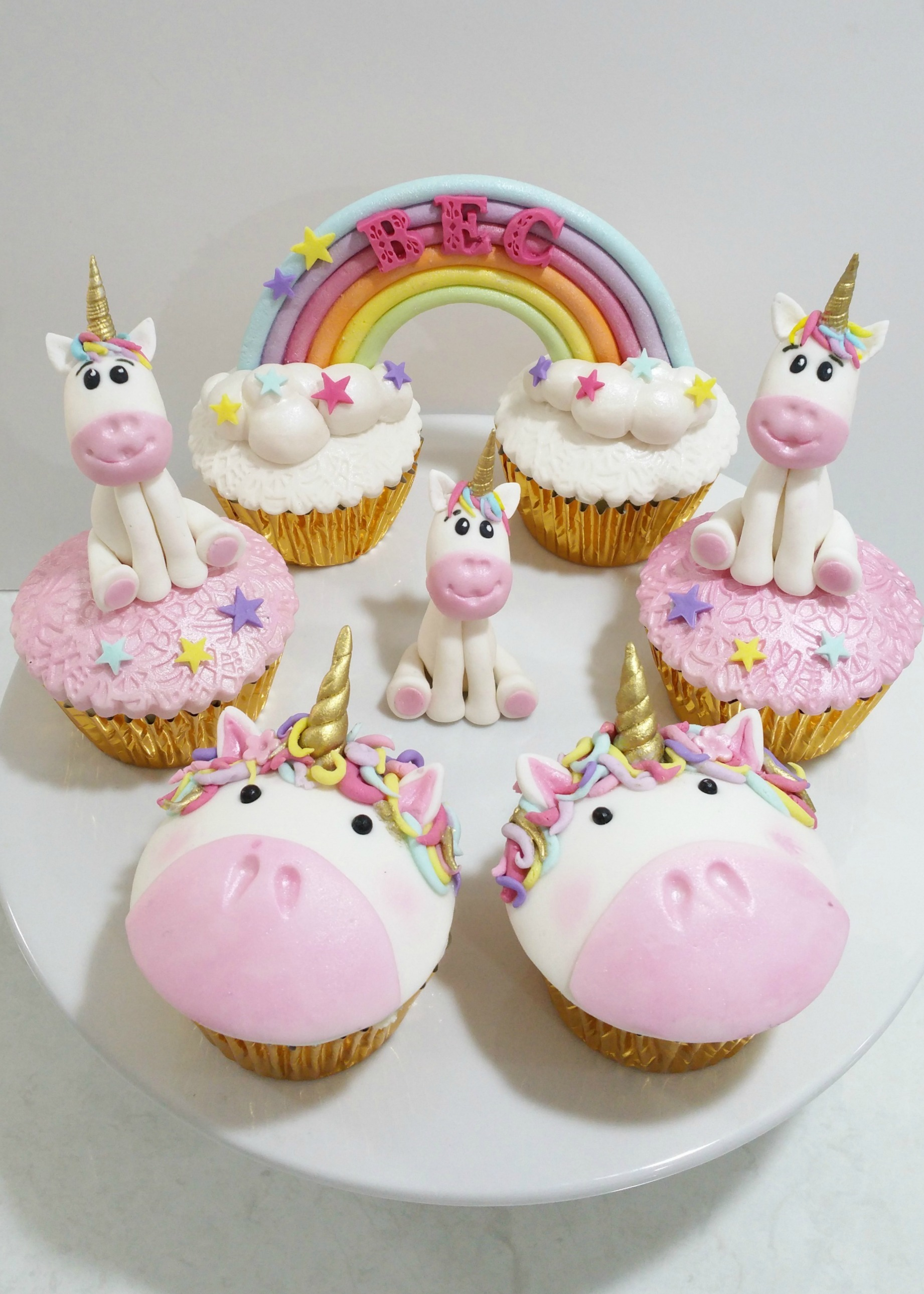 Pink and White Unicorn Birthday Cupcakes