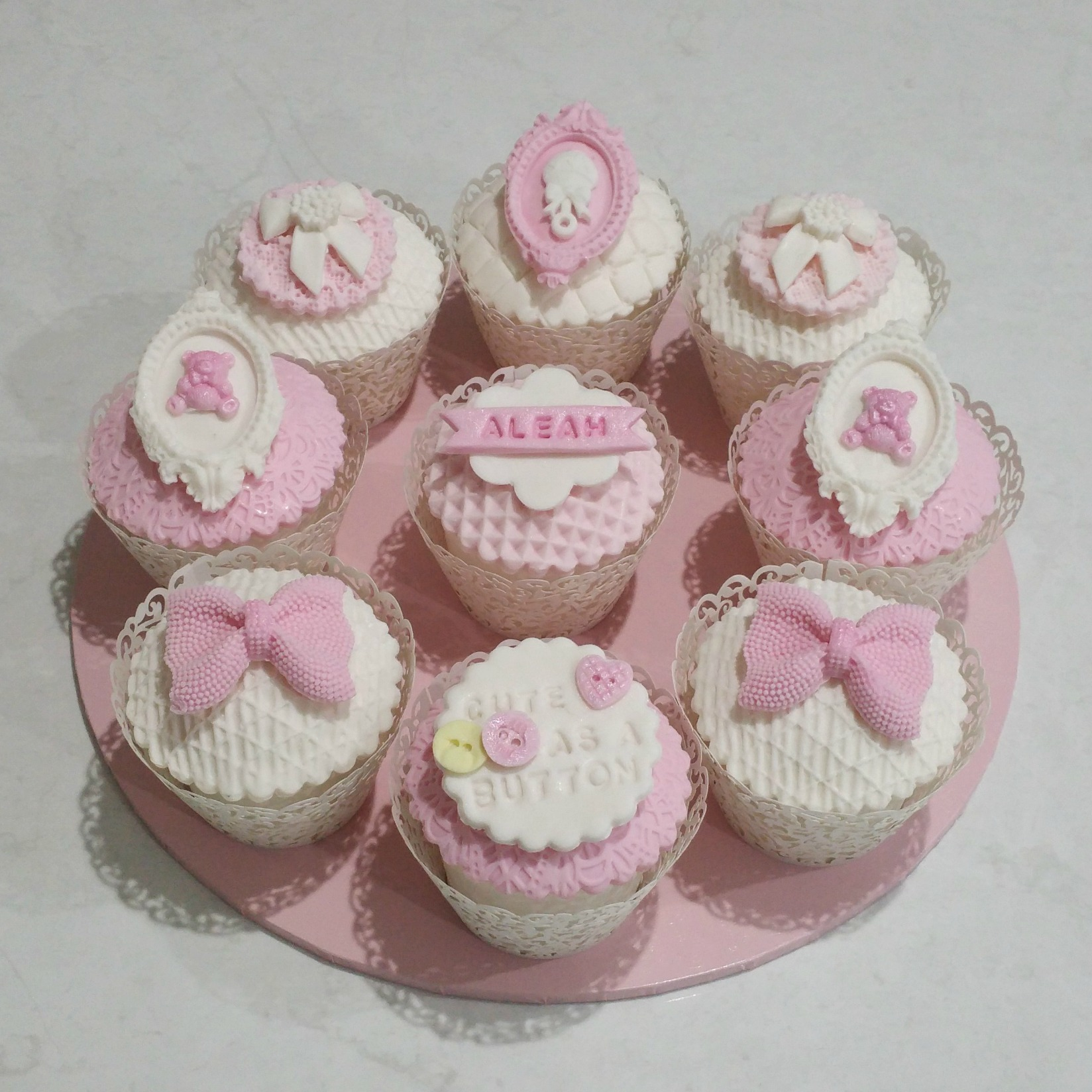 Pink & white Baby Cupcakes