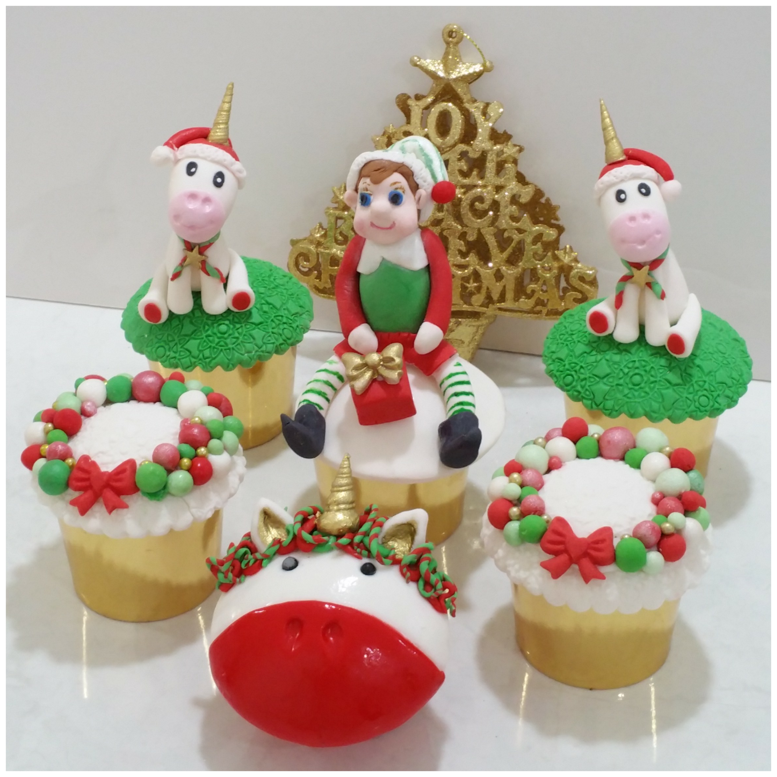 Christmas Unicorn and Elf Cucpakes