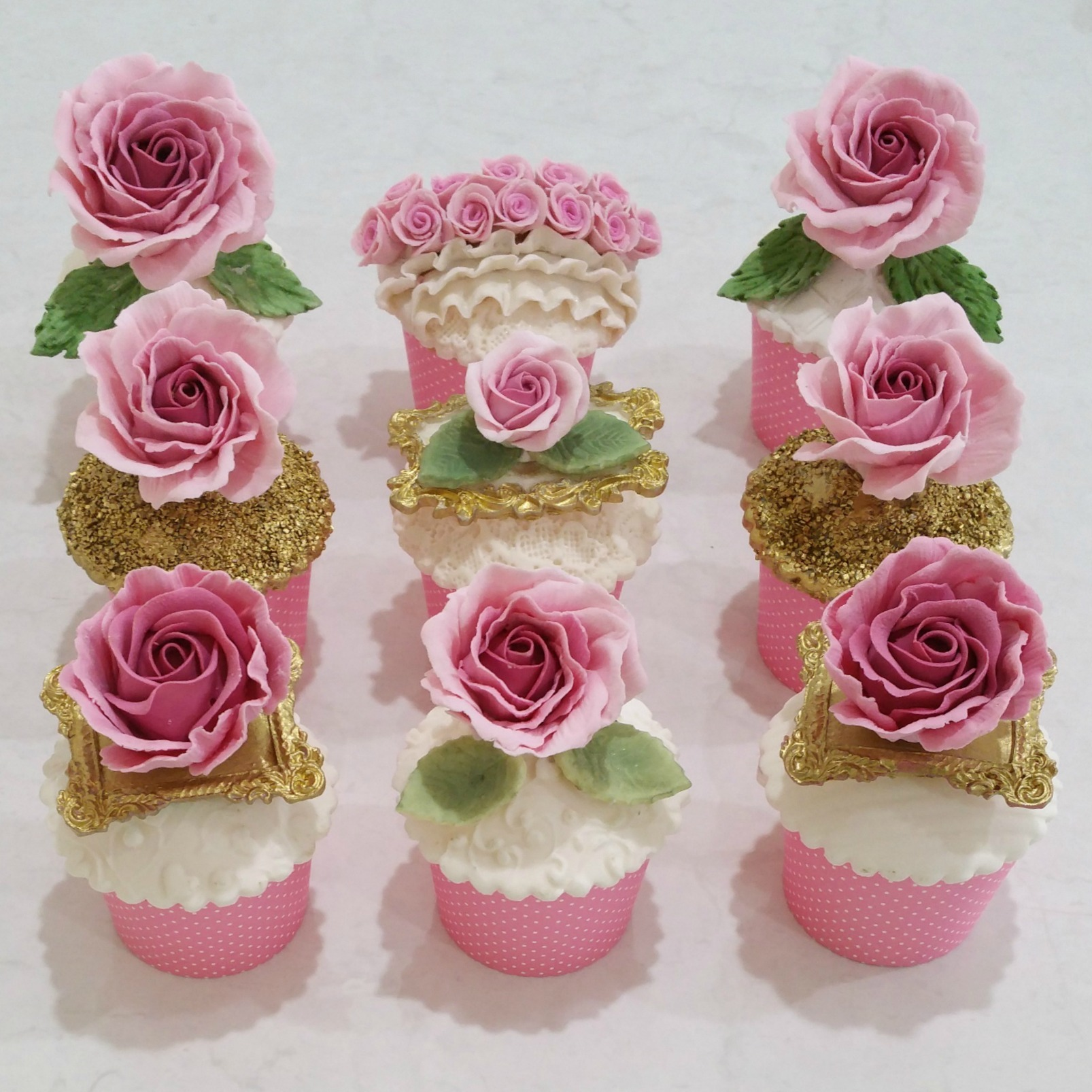 Pink and White Rose Cupcakes