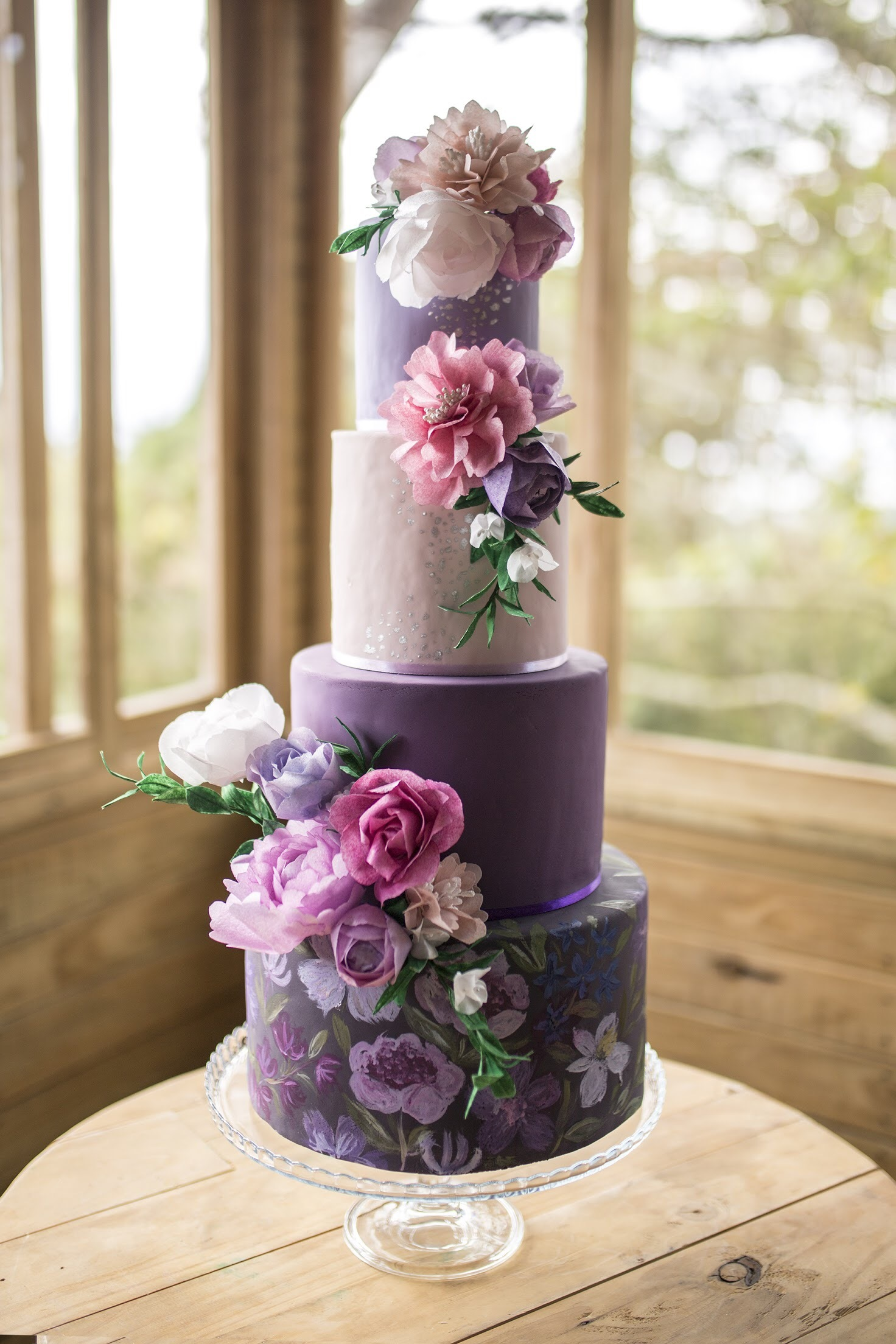 Shades of purple fondant wedding cake