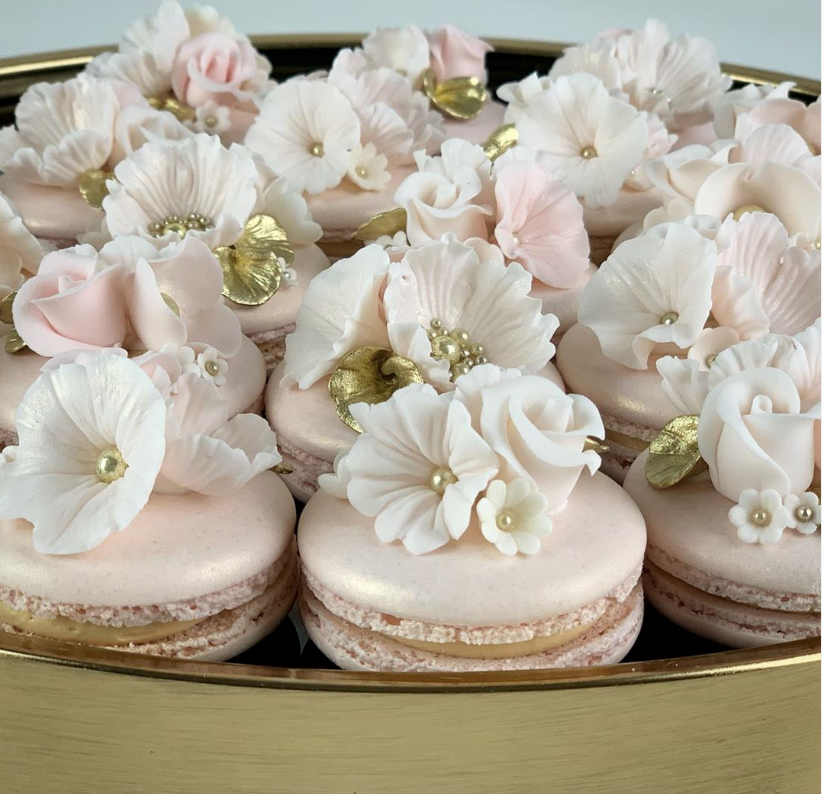 Macarons with gum paste flowers