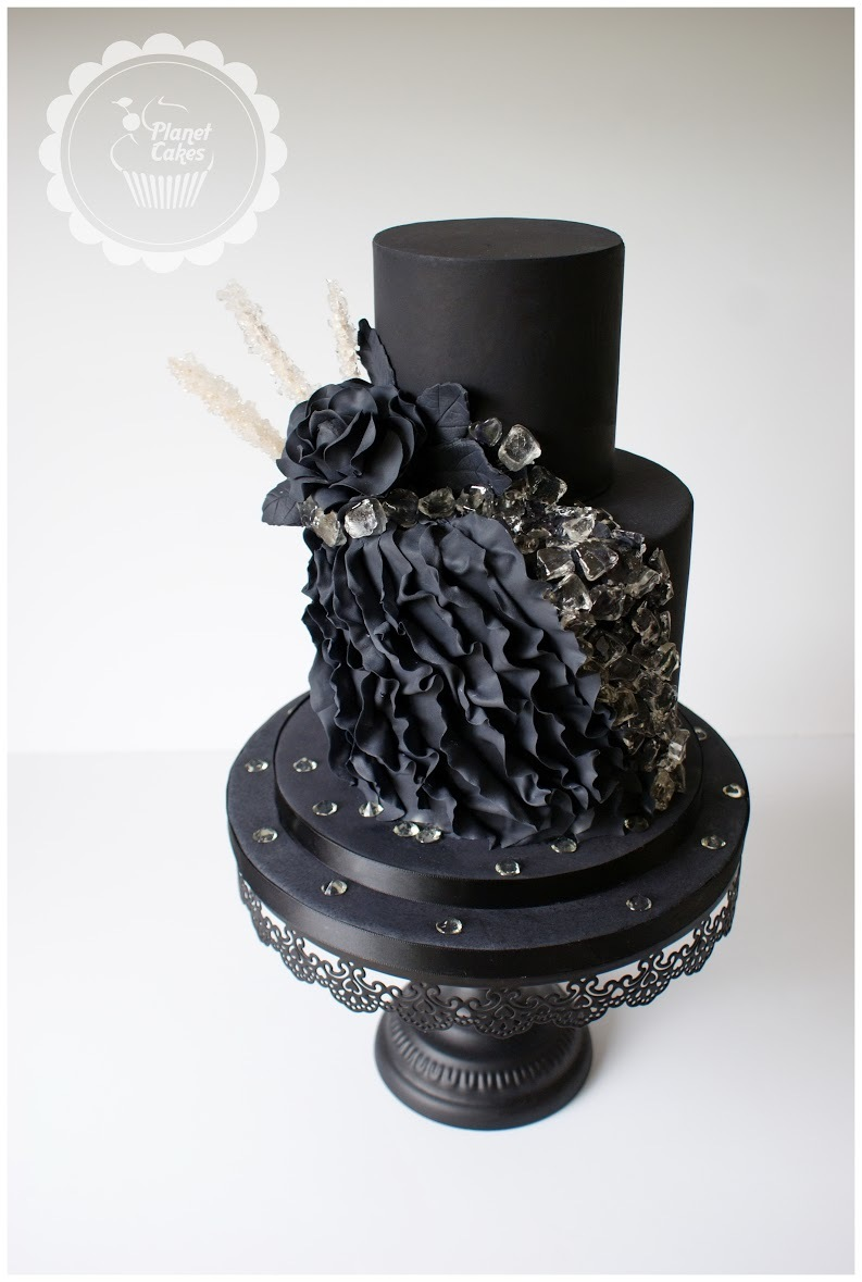 All black fondant cake with black sugar flowers