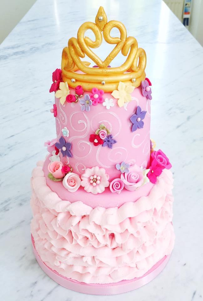 Pink ruffle princess cake