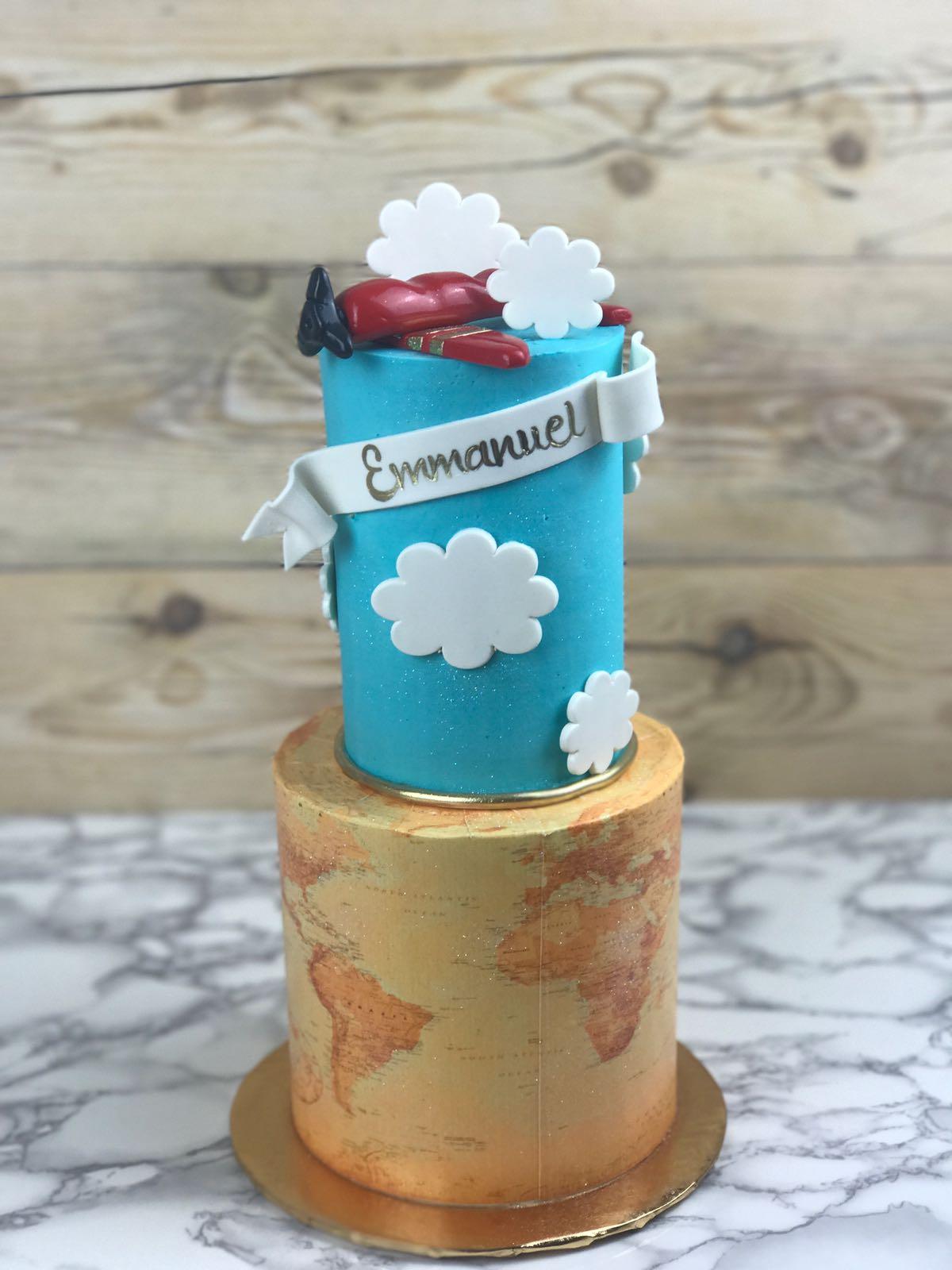 Airplane theme traveler birthday cake