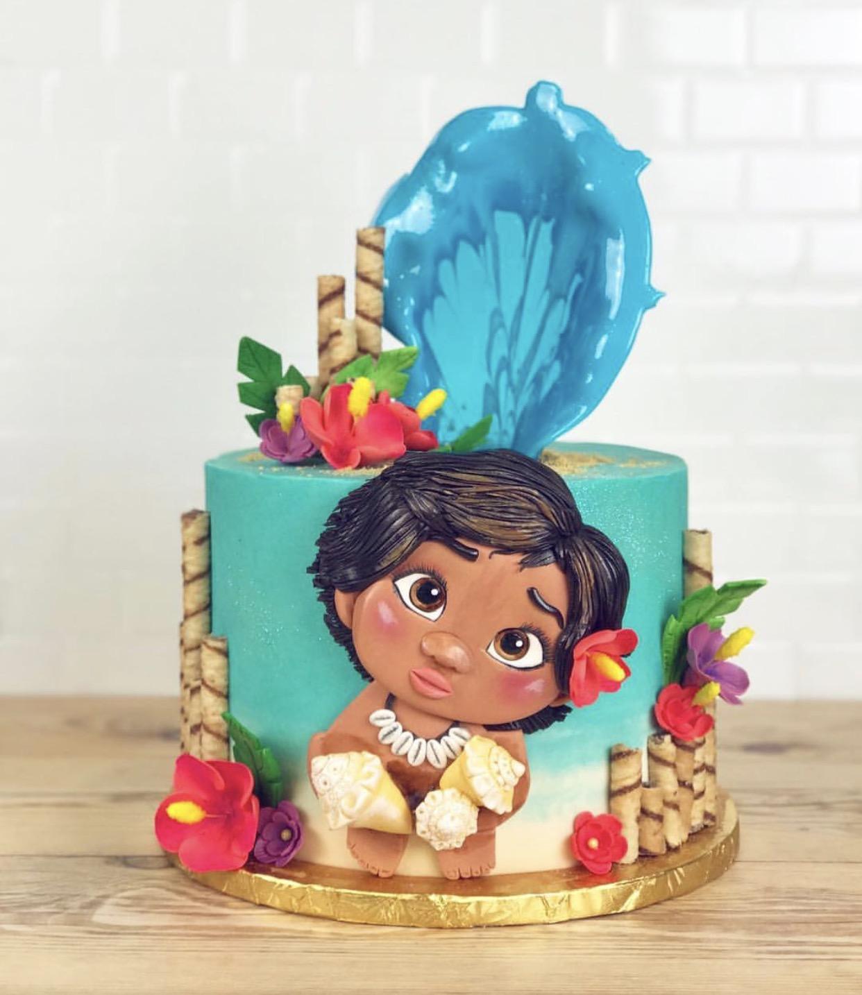 Moana themed beach birthday cake