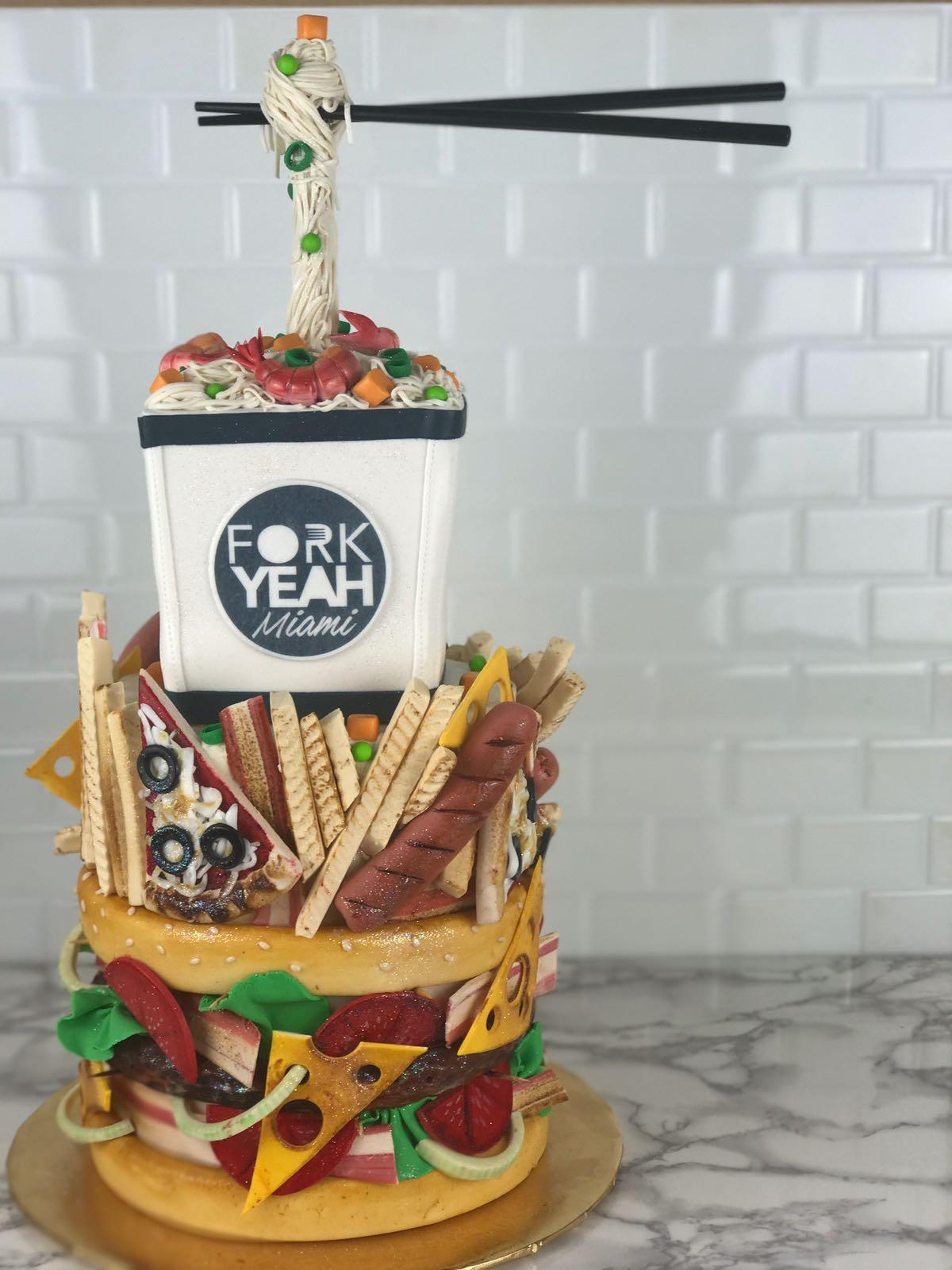 Junk food themed fondant birthday cake