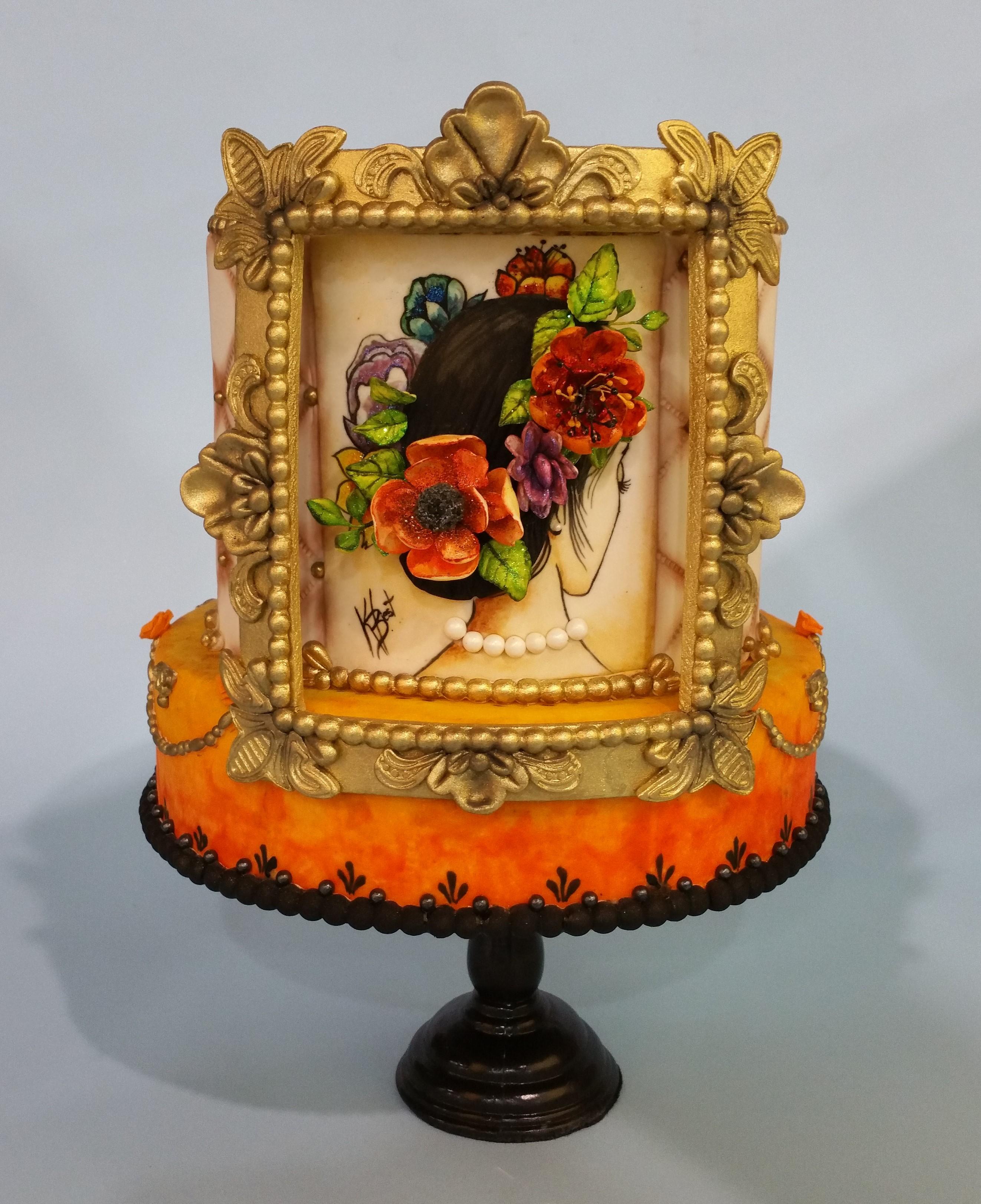 Vintage picture frame sugar flower cake