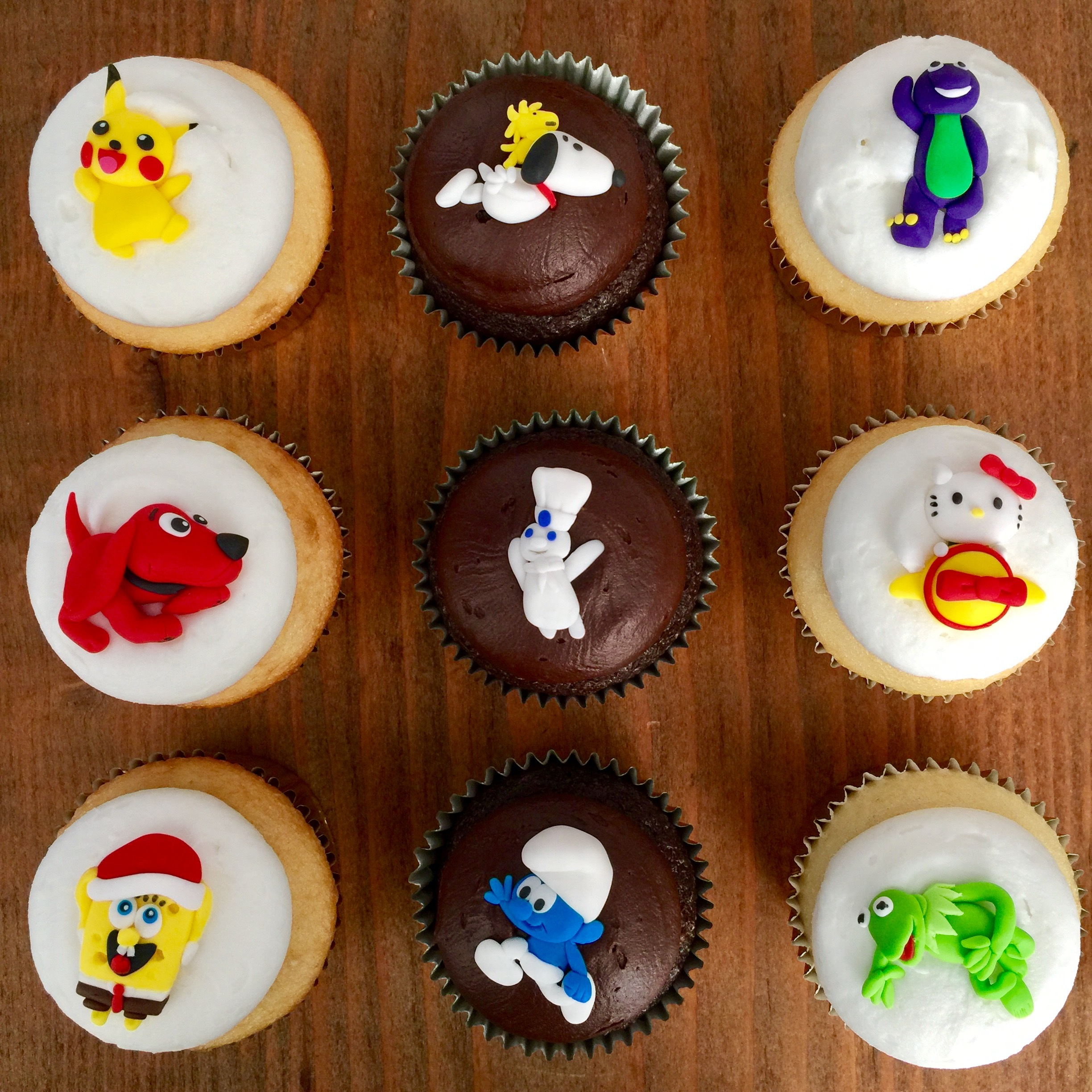 Cartoon themed cupcake toppers