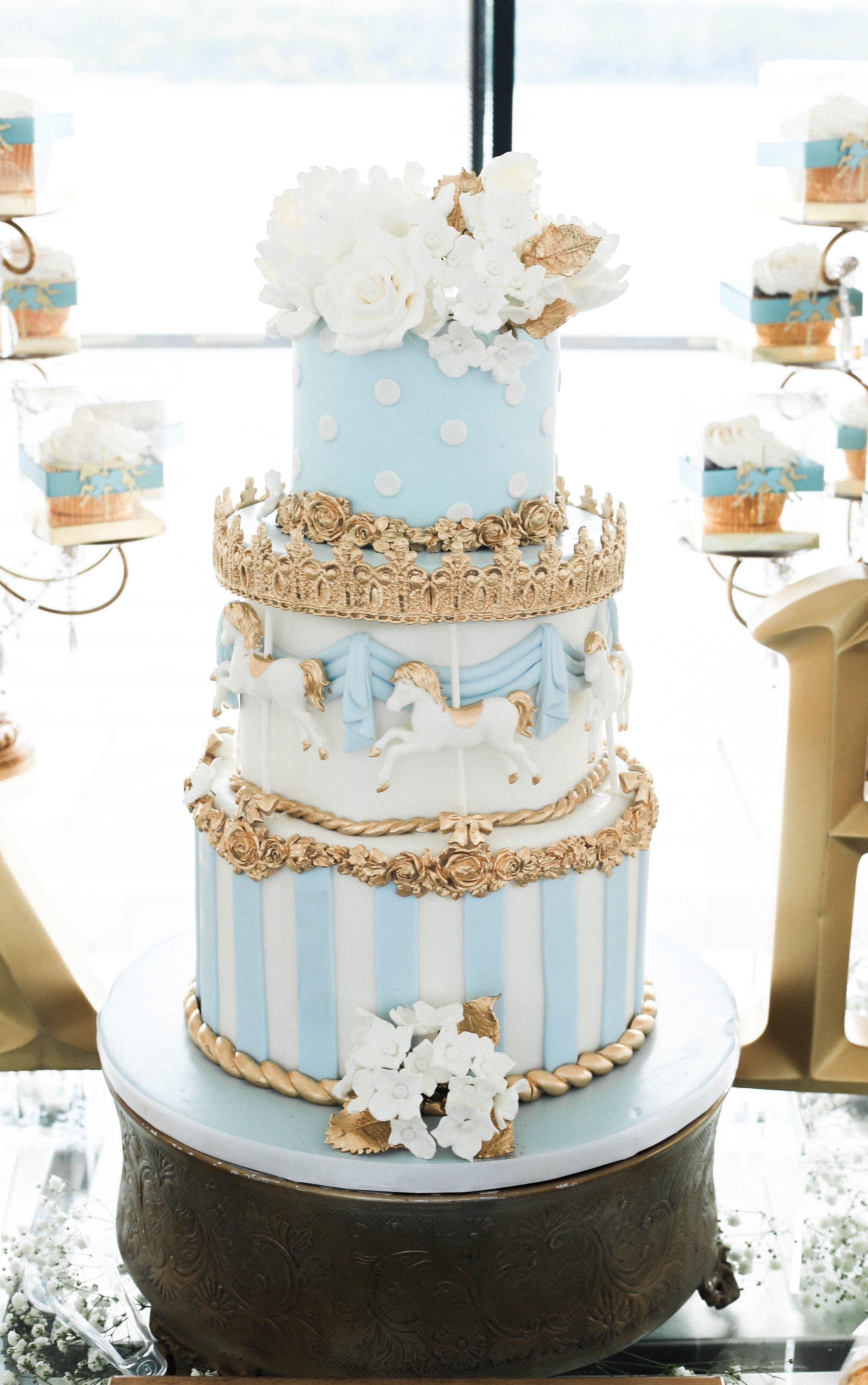 Blue & White Carousel Baby Cake