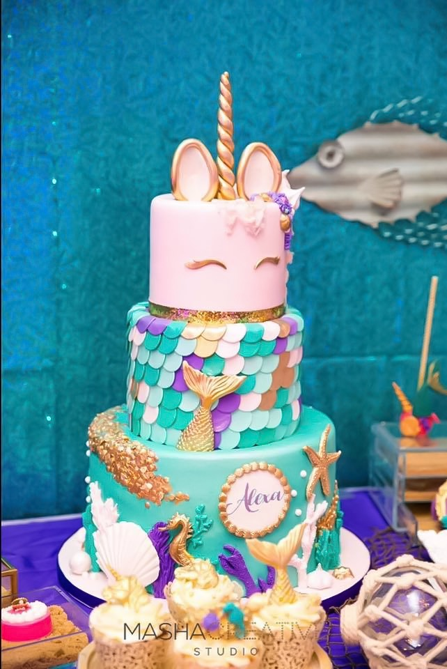 Fondant mermaid unicorn birthday cake