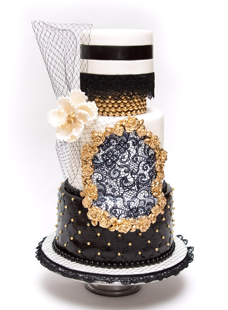 Black and  White fondant wedding cake with monogram