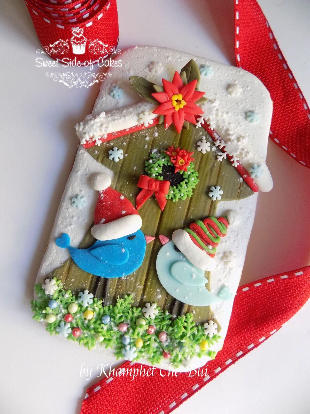 Christmas bird cookie