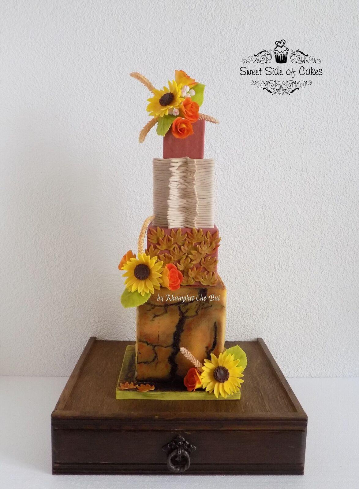 Sunflower themed fall cake
