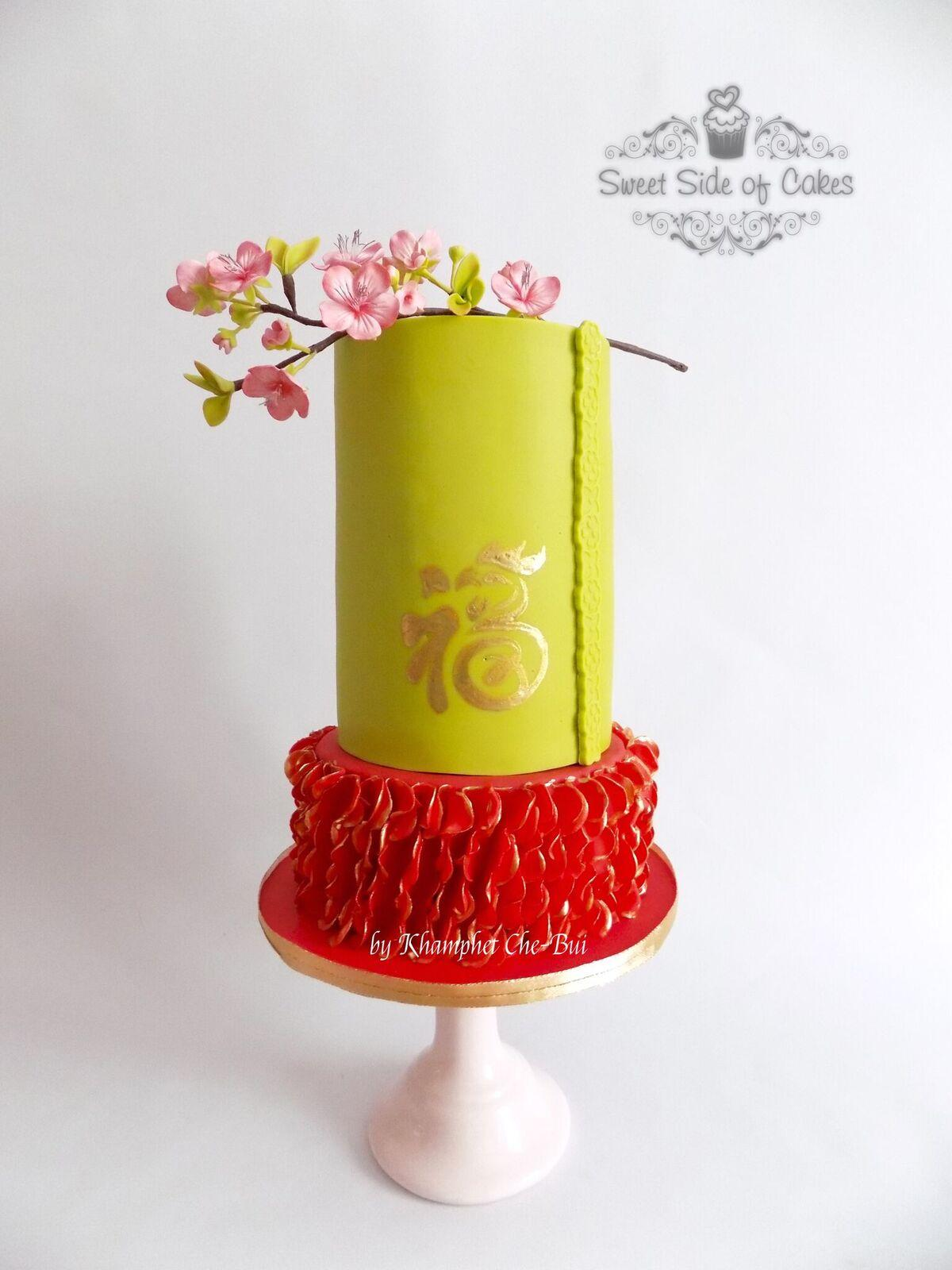 Bright and red asian themed cake