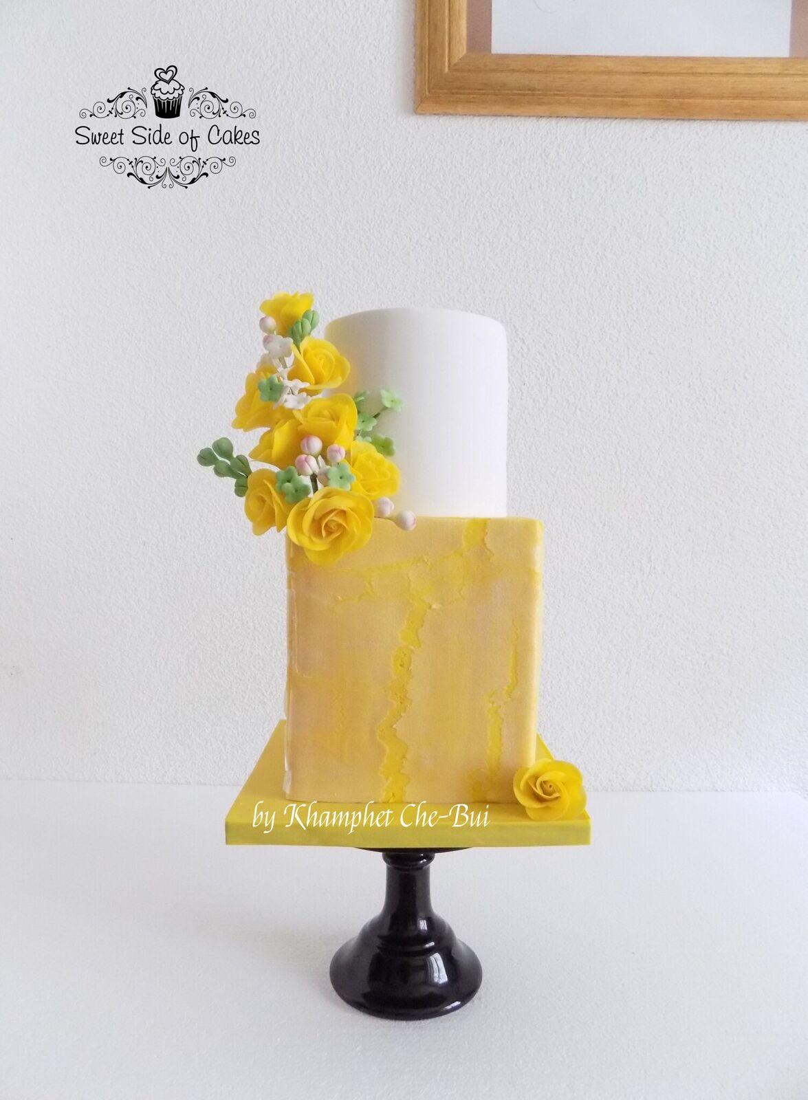 white and yellow wedding