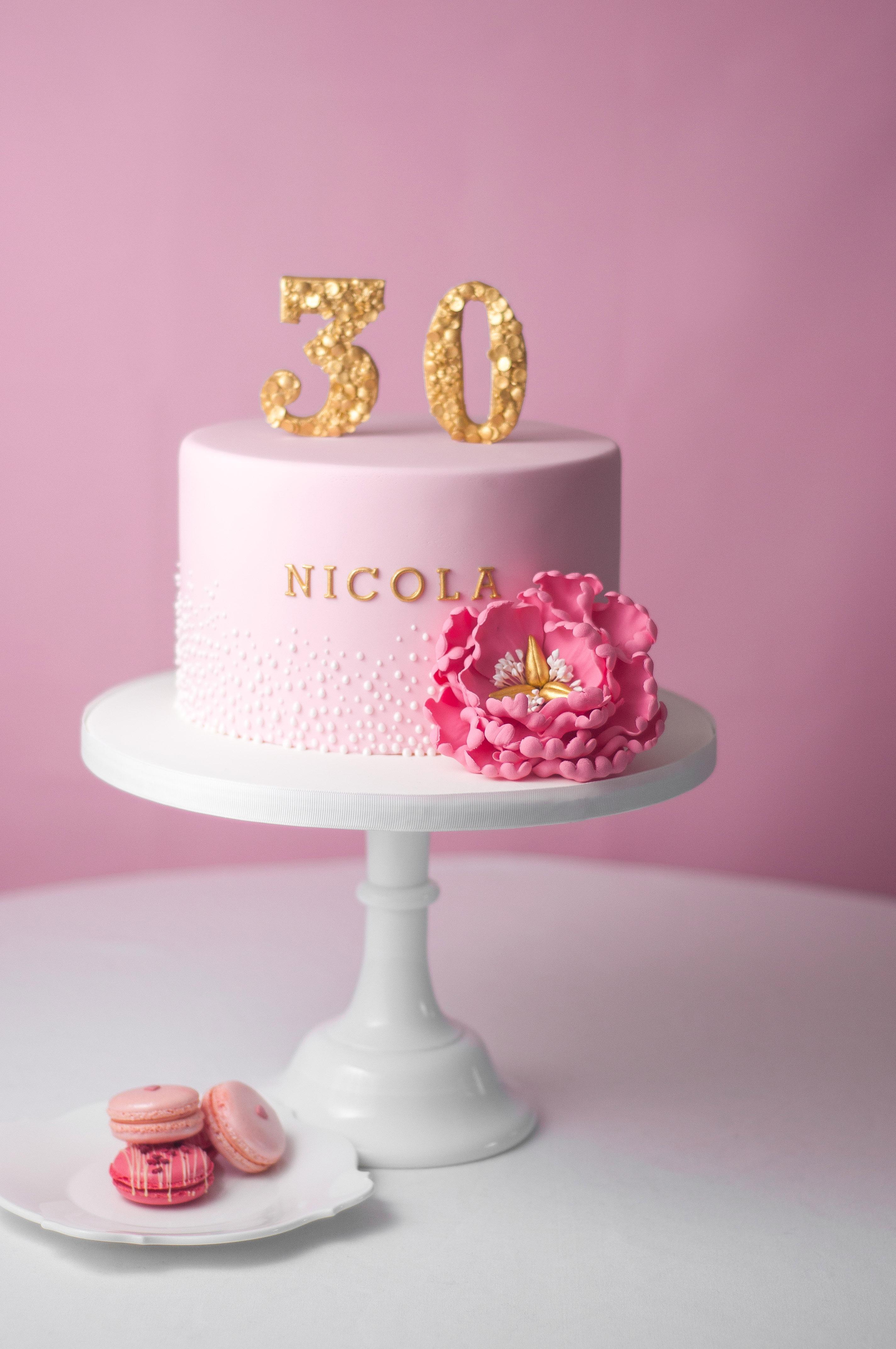 Pink Peony Fondant mini cake