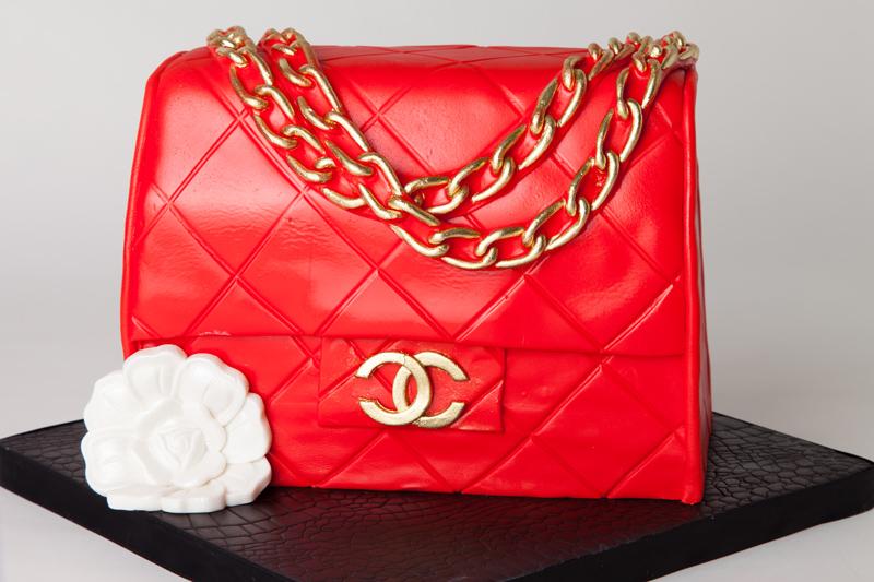 Red chanel styled fondant handbag cake