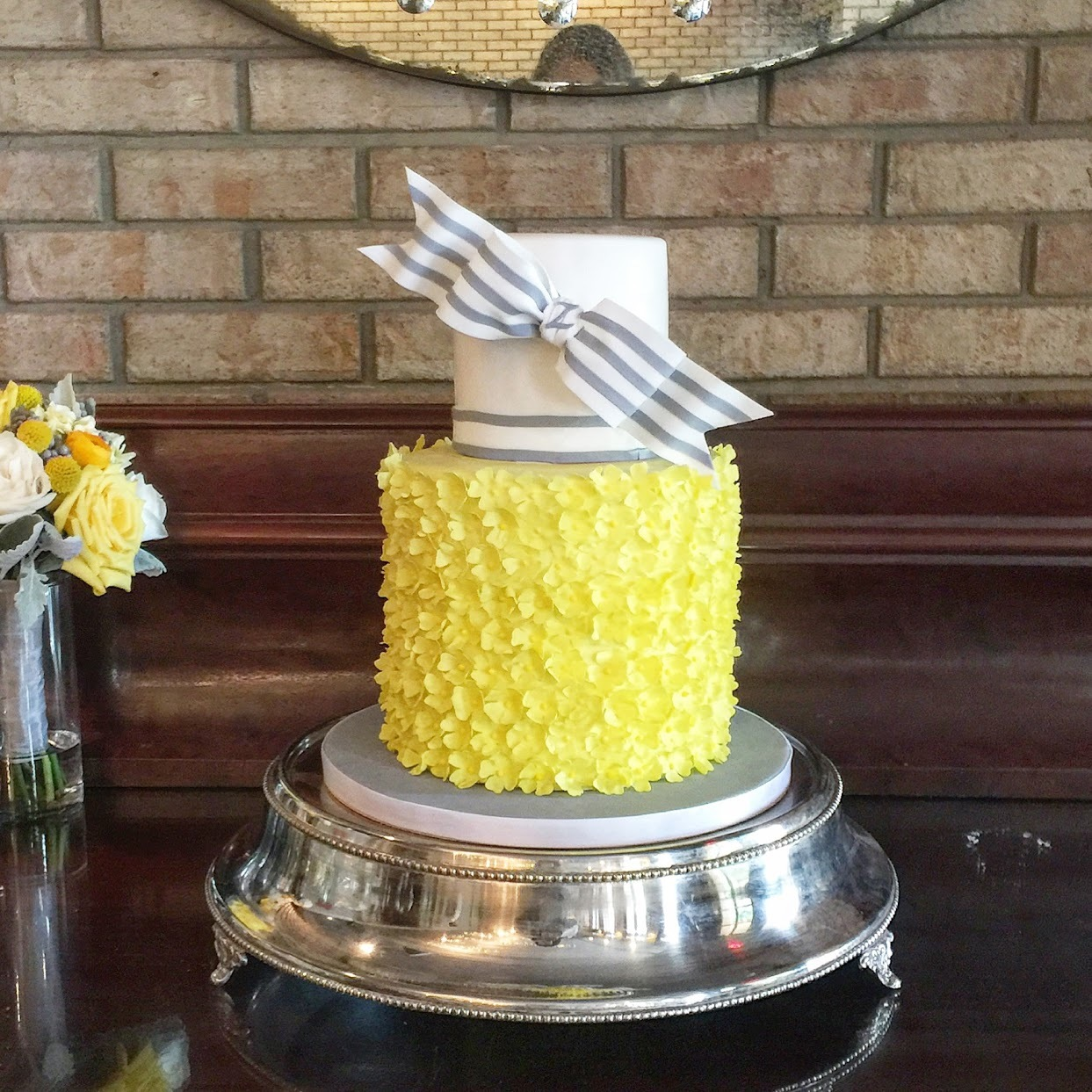 White and Yellow ruffle wedding