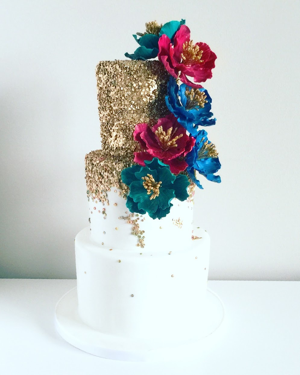 White and gold sequin wedding