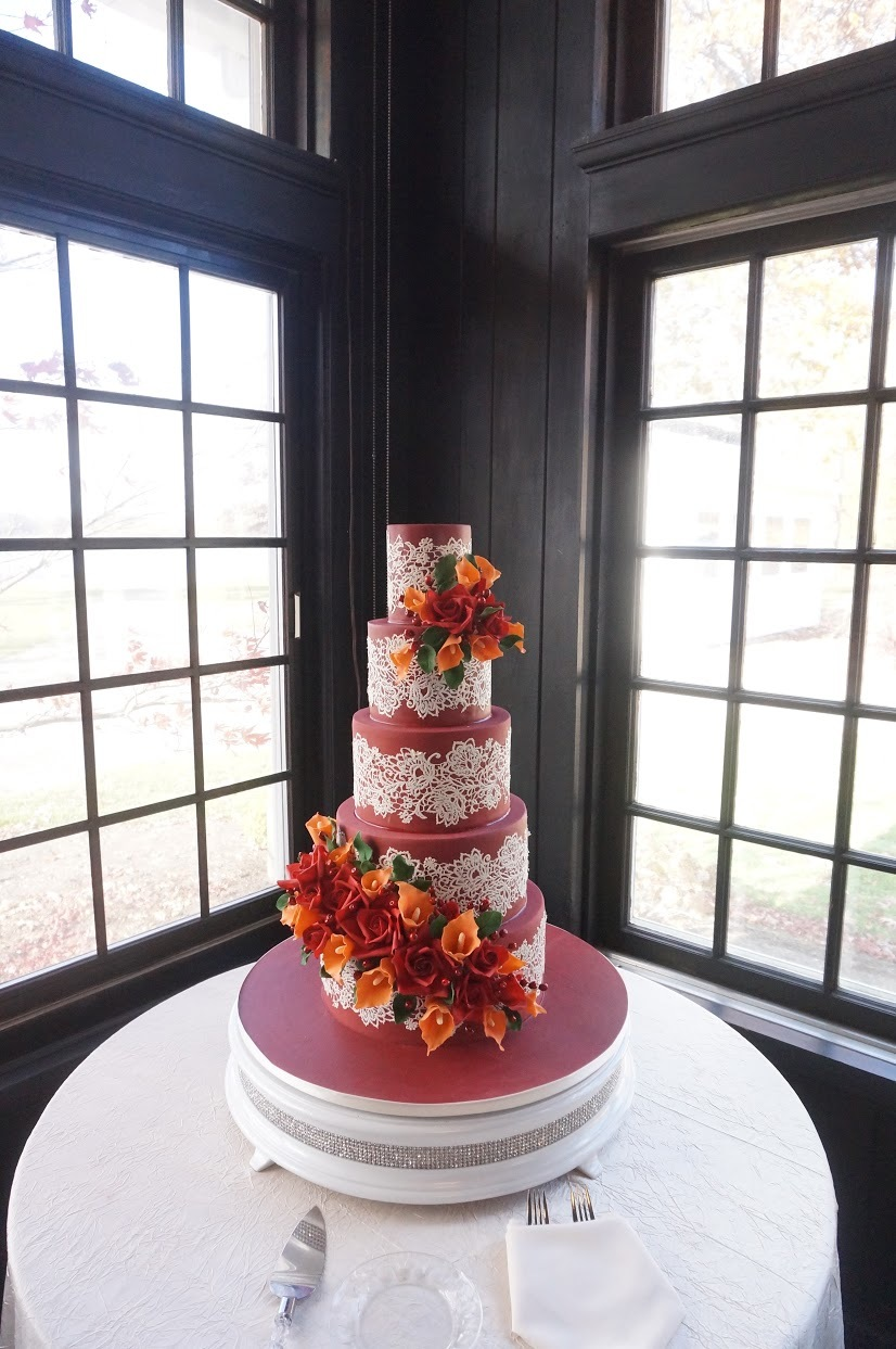 All burgundy with lace wedding cake